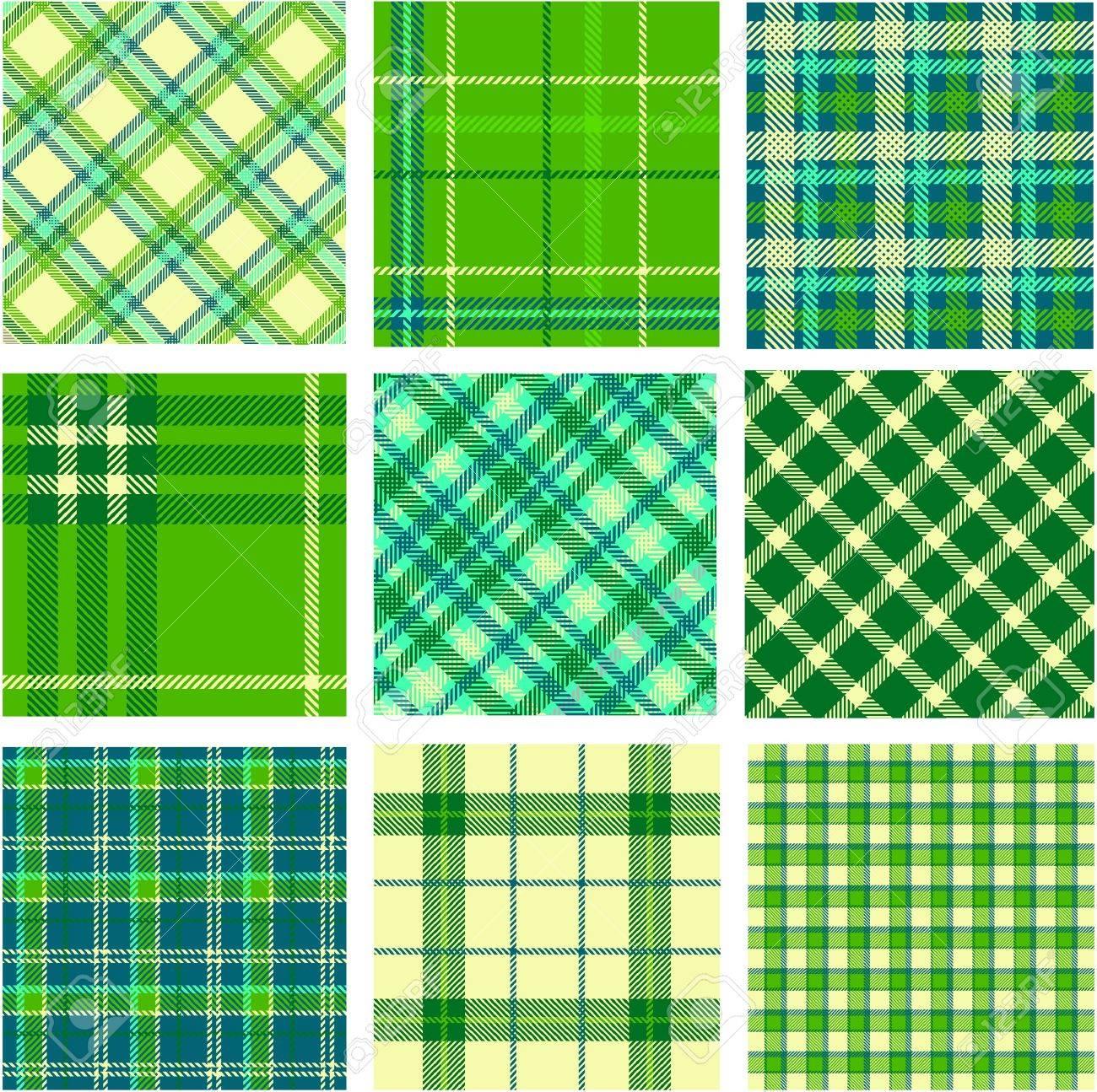 9 plaid patterns set Stock Vector - 9905289