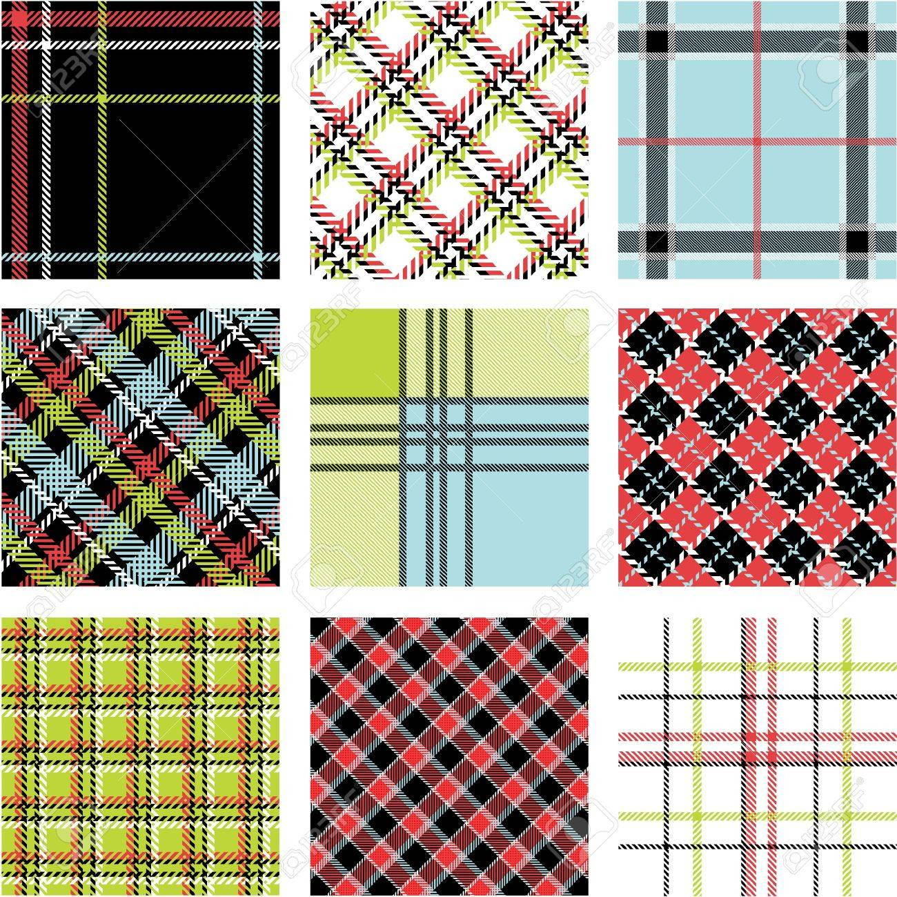 9 plaid patterns set Stock Vector - 9905286