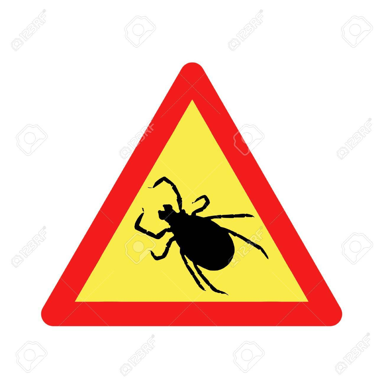 triangular warning before ticks sign - 4785573