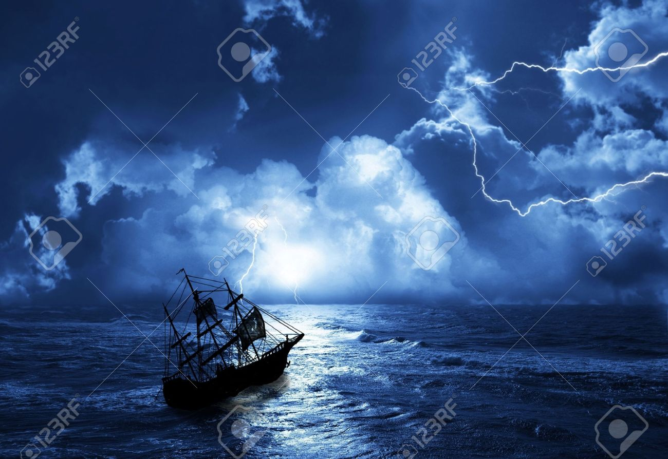 the sailing-ship in time of storm from lightnings - 5587517