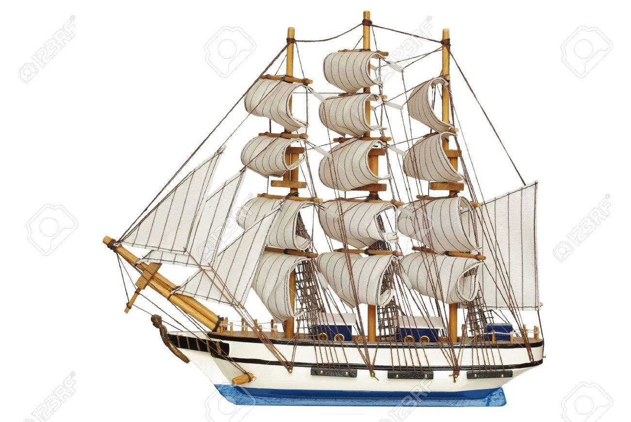 sailing-ship under full sails on white background - 7427316