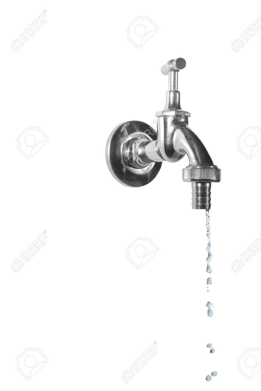 dripping metal tap on white background - 7490066