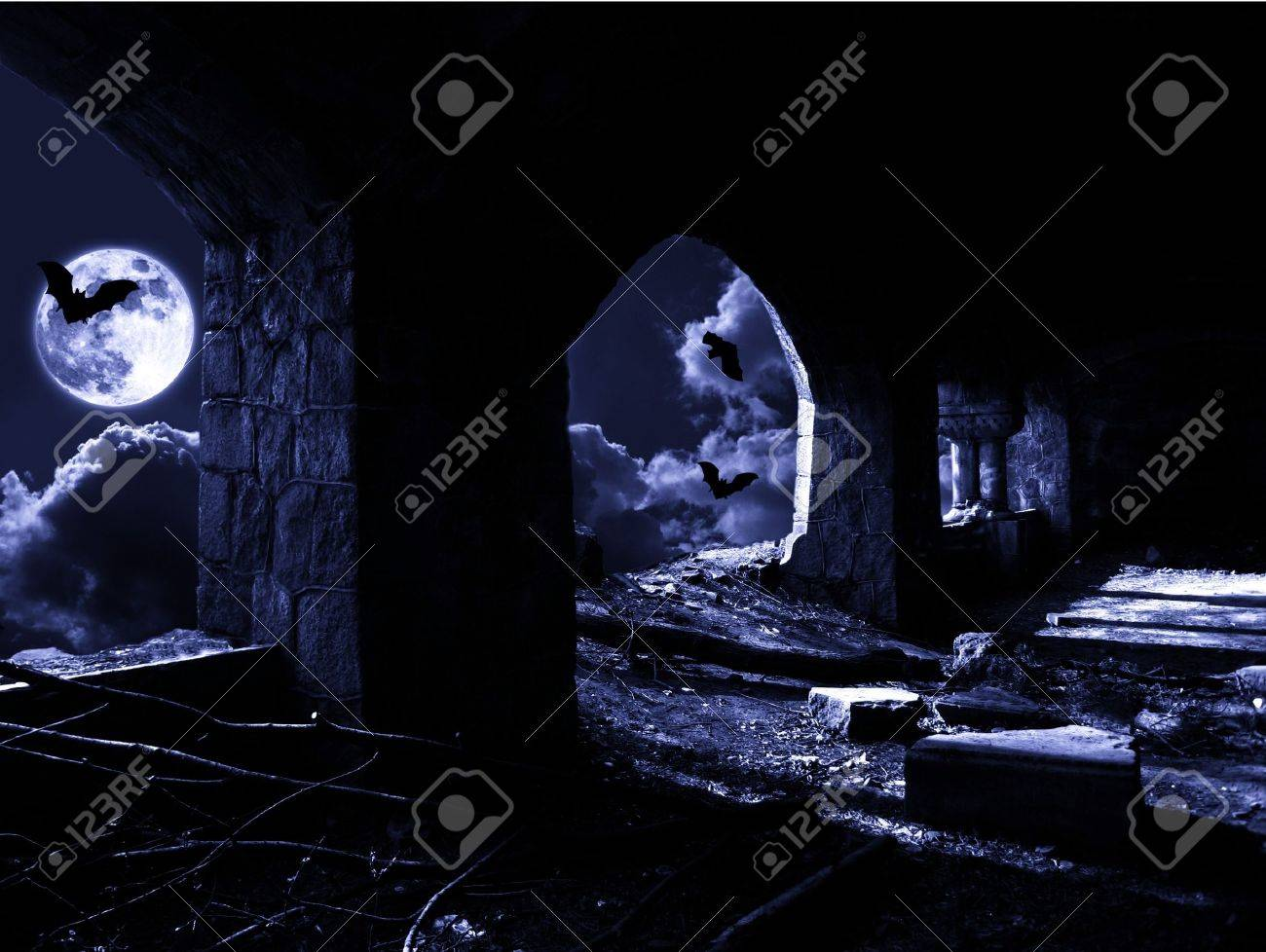 lighted up with light of moon ruins - 8180402
