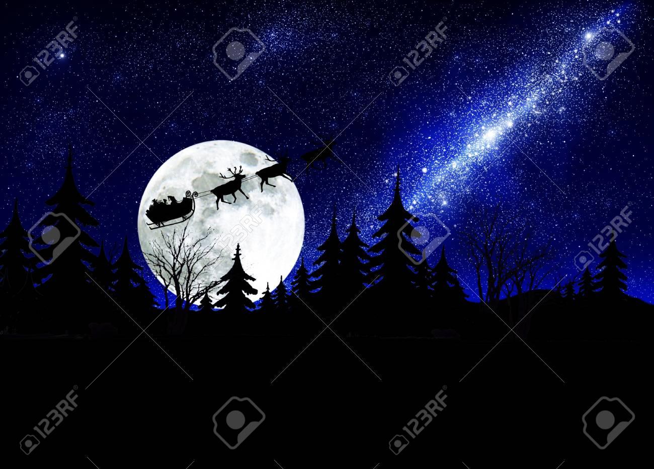 santa claus on sky background - 8273908