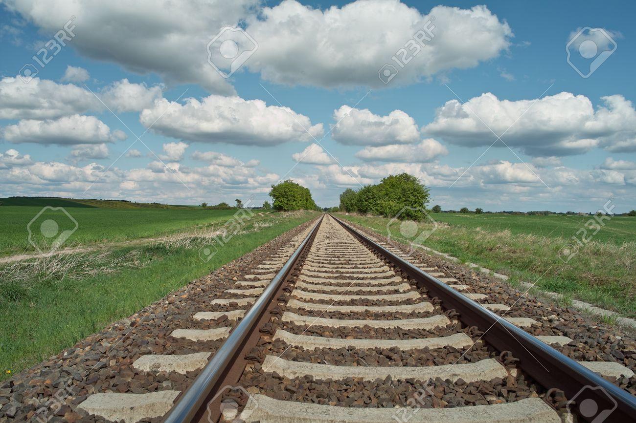 railway tracks on background of scenery - 9513284