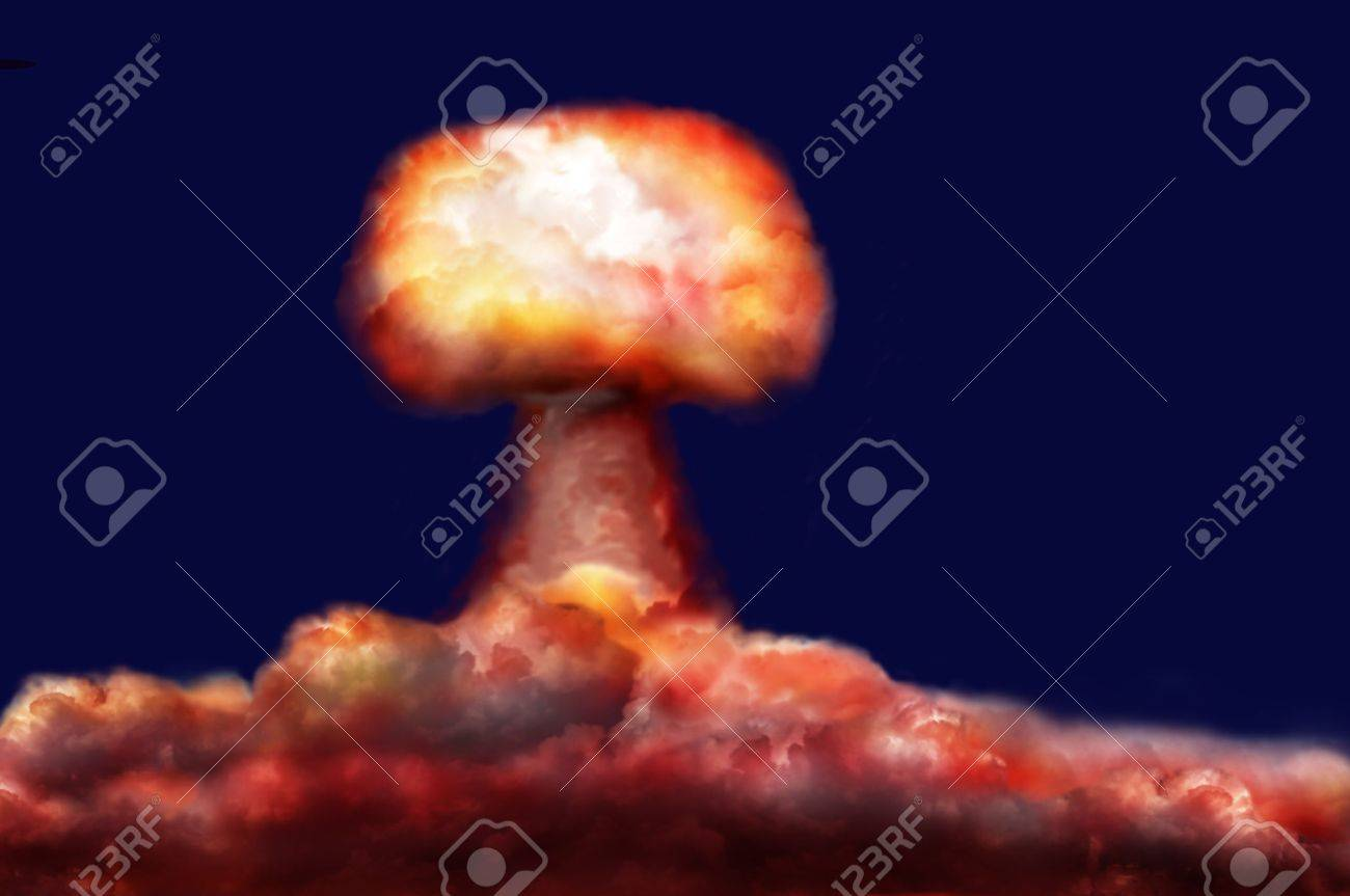 explosion of great nuclear bomb on background of clouds - 10577116