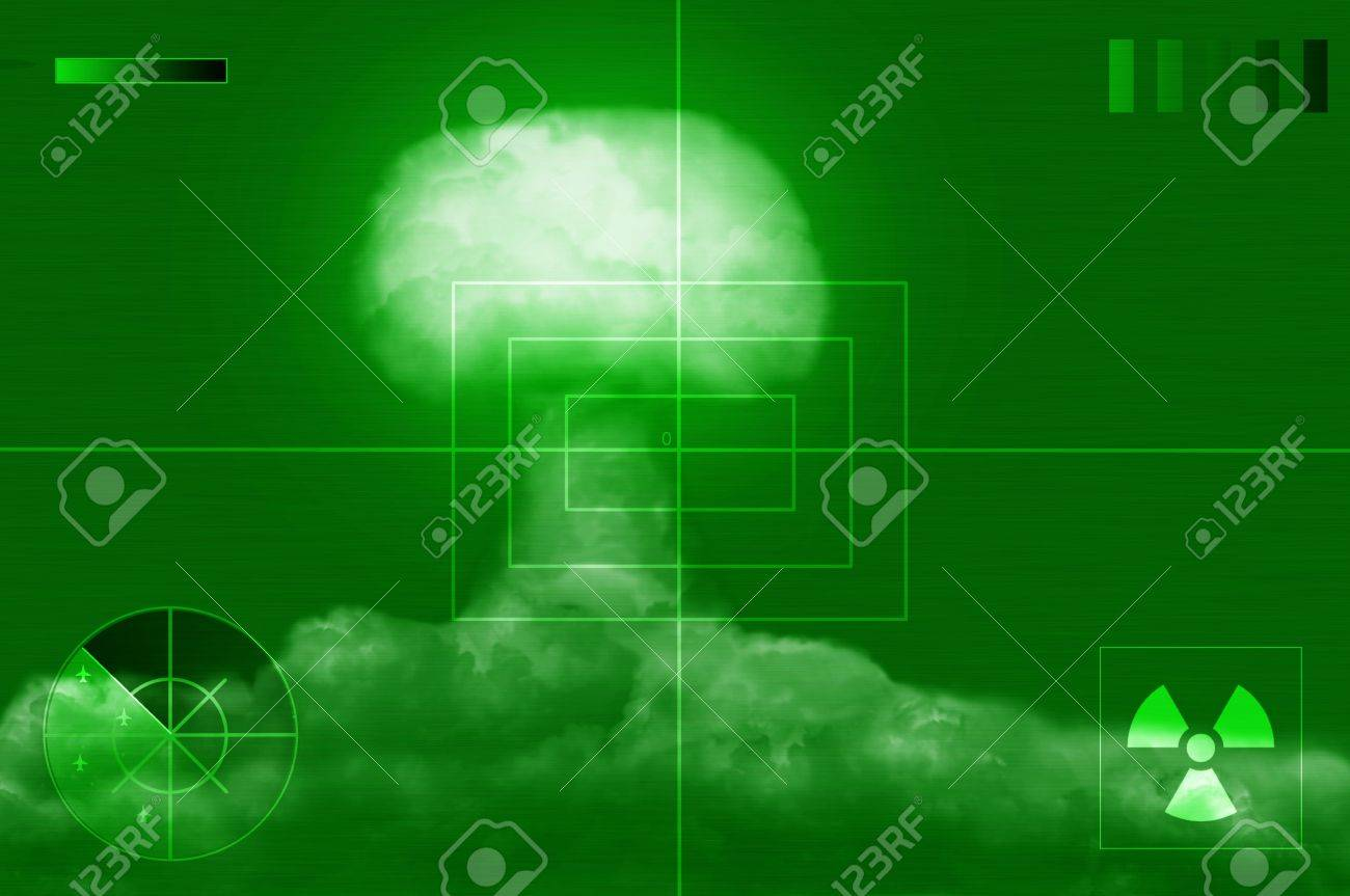 explosion of great nuclear bomb on screen of noctovisor - 10725538