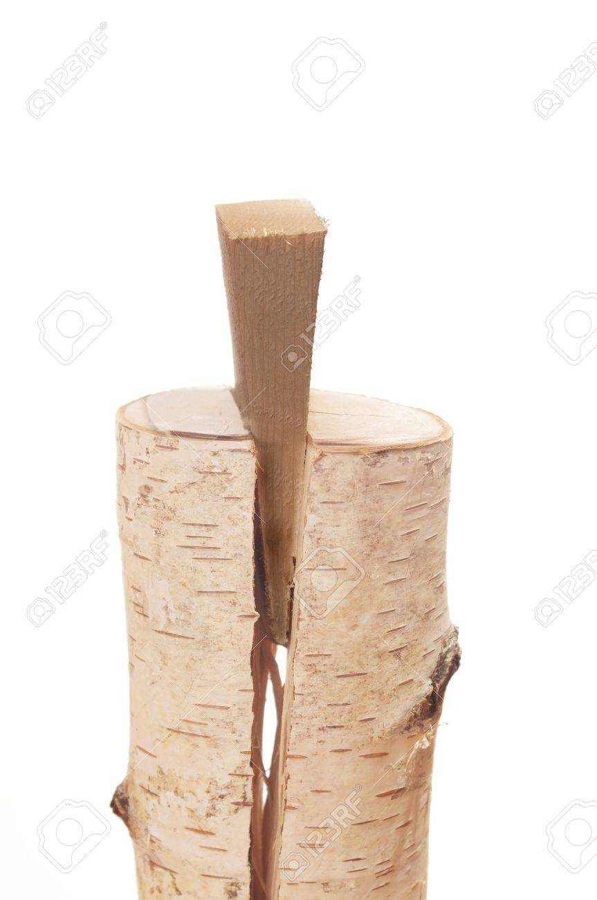 froth on white background wooden splitting wedge - 10959050