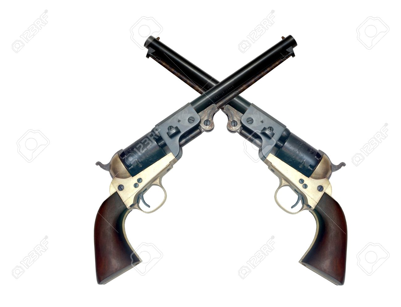 two old metal colt revolver on white background - 11052912