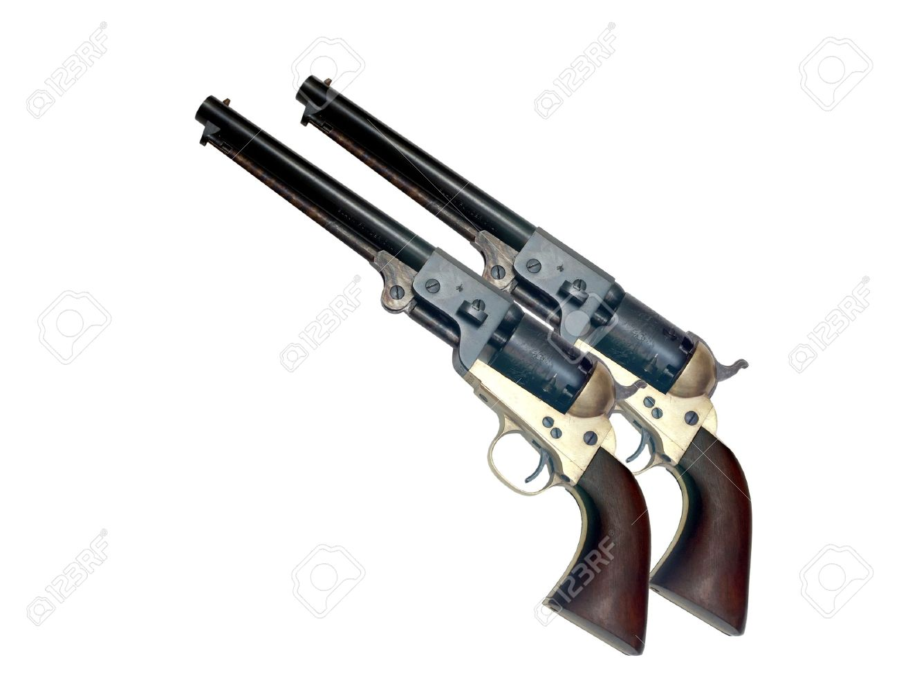 two identical old metal colt revolver on white background - 11052911