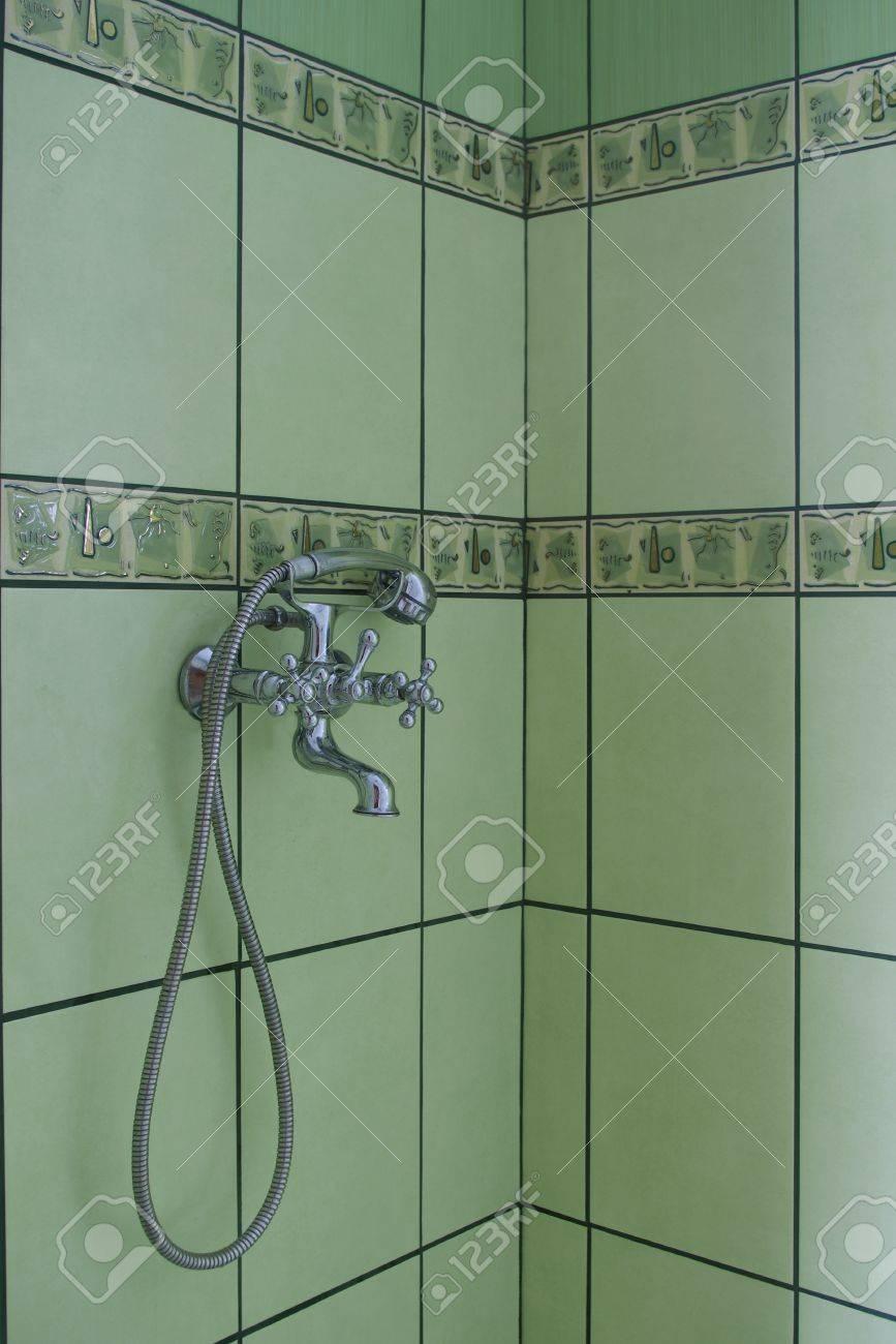 fragment of bathroom with green glaze Stock Photo - 13142668