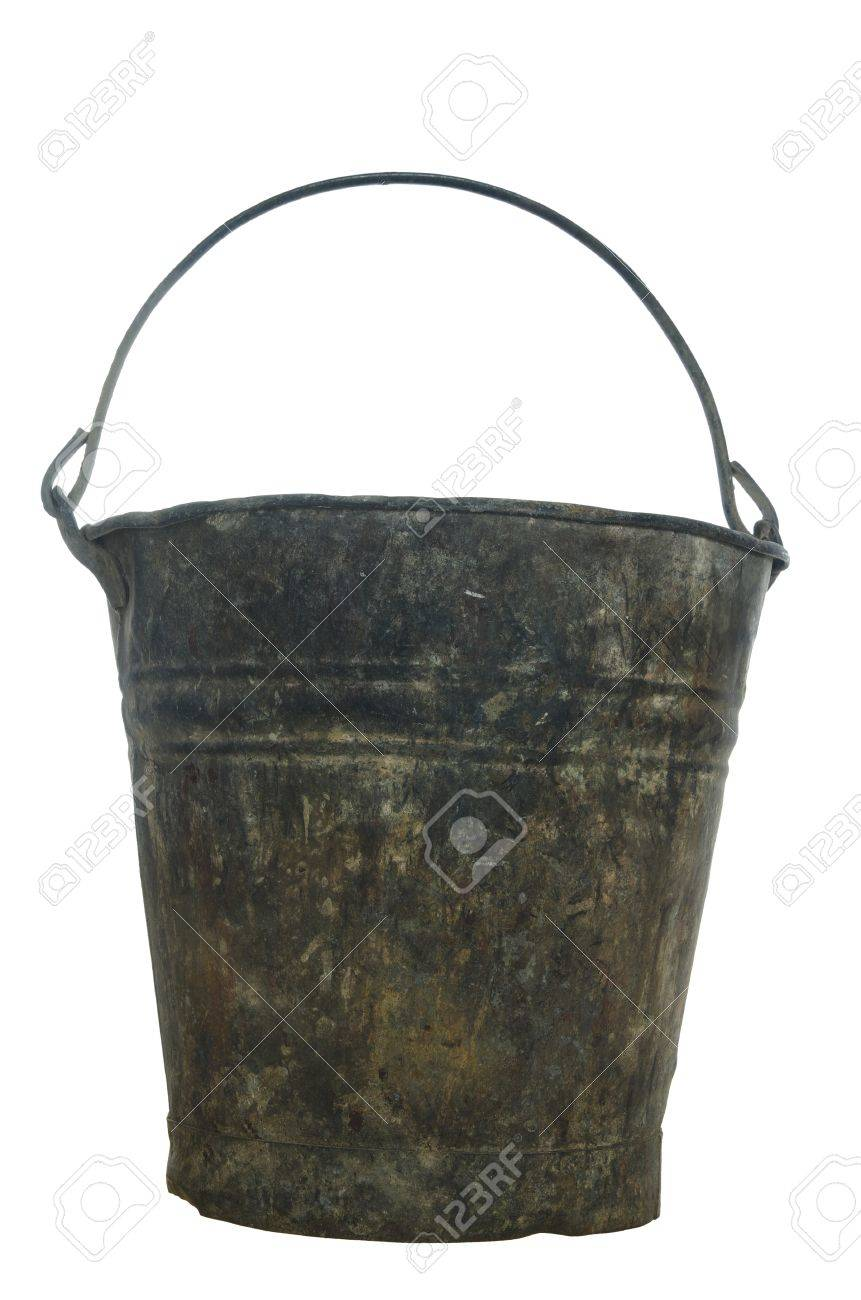 old metal pail on white background - 17209999