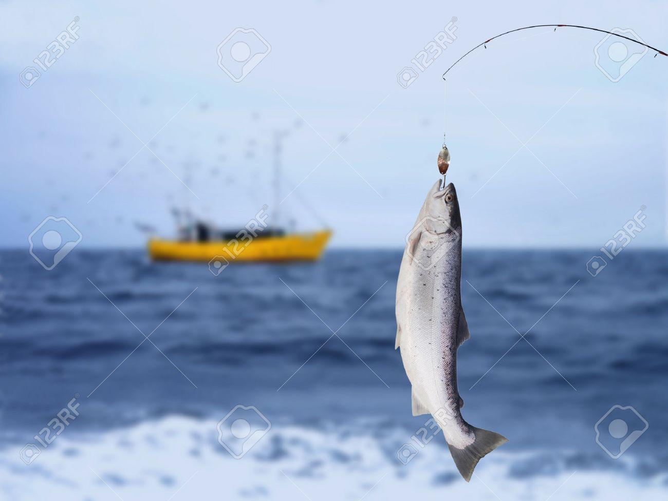salmon on fishing-rod on background of sea - 17389304