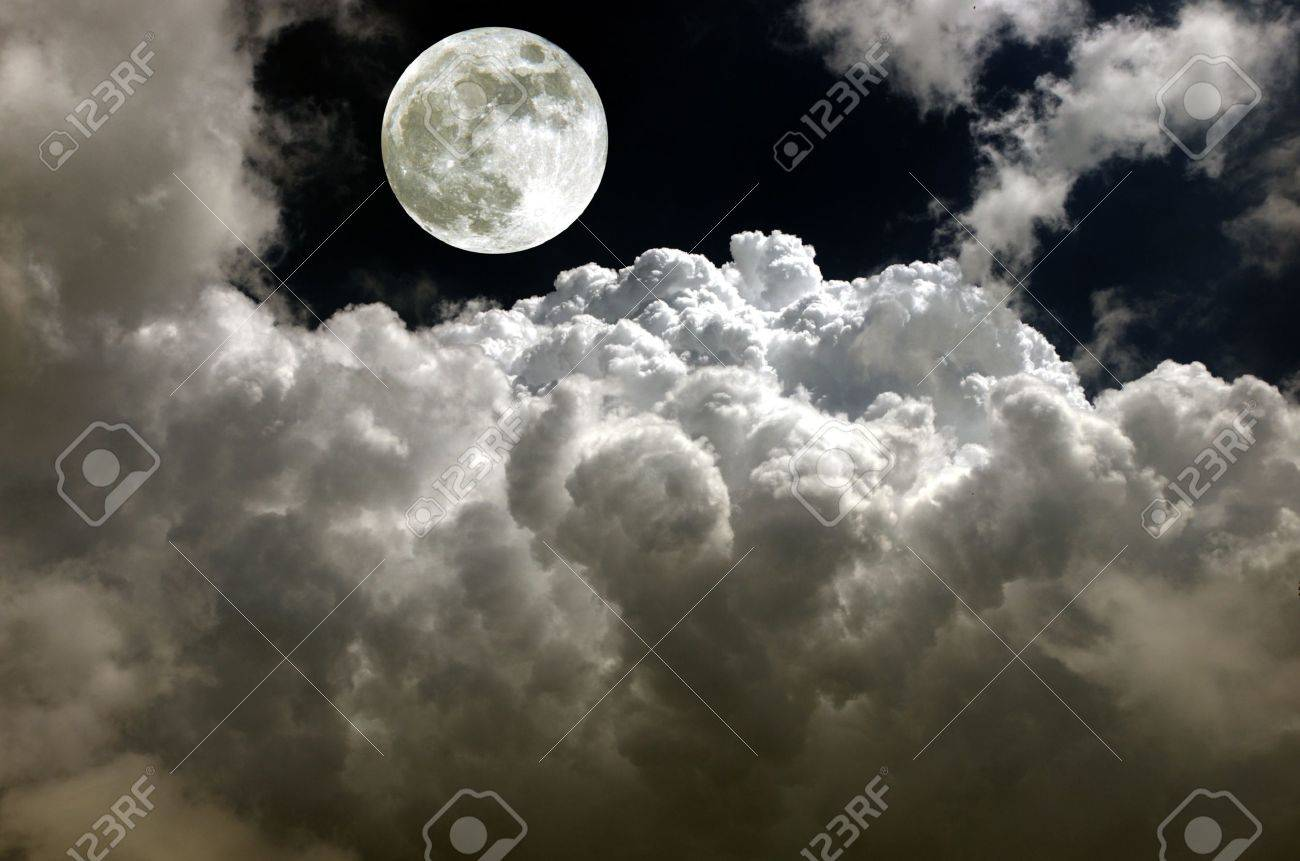 moon fully on background of clouds - 20892659