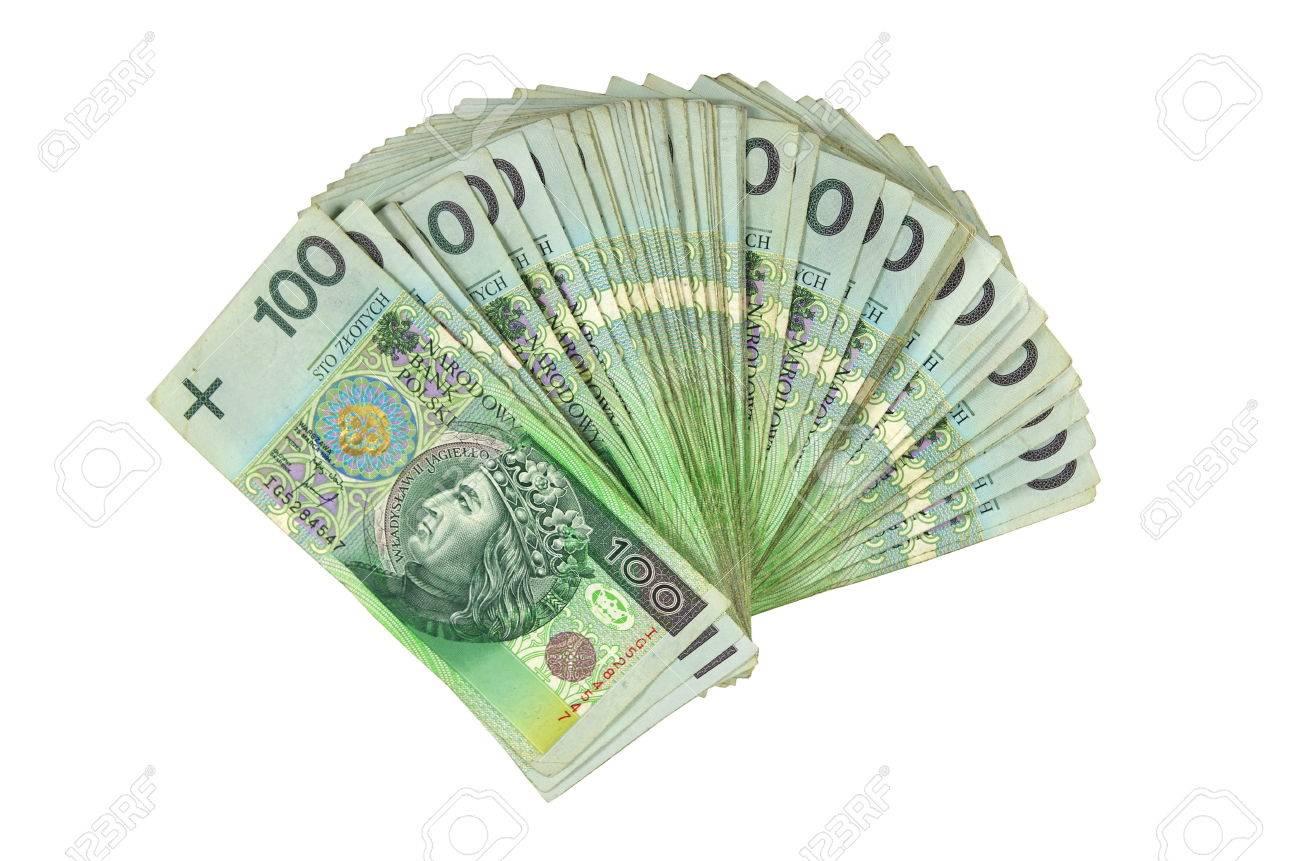 a lot of polish money isolated on white background - 25791049