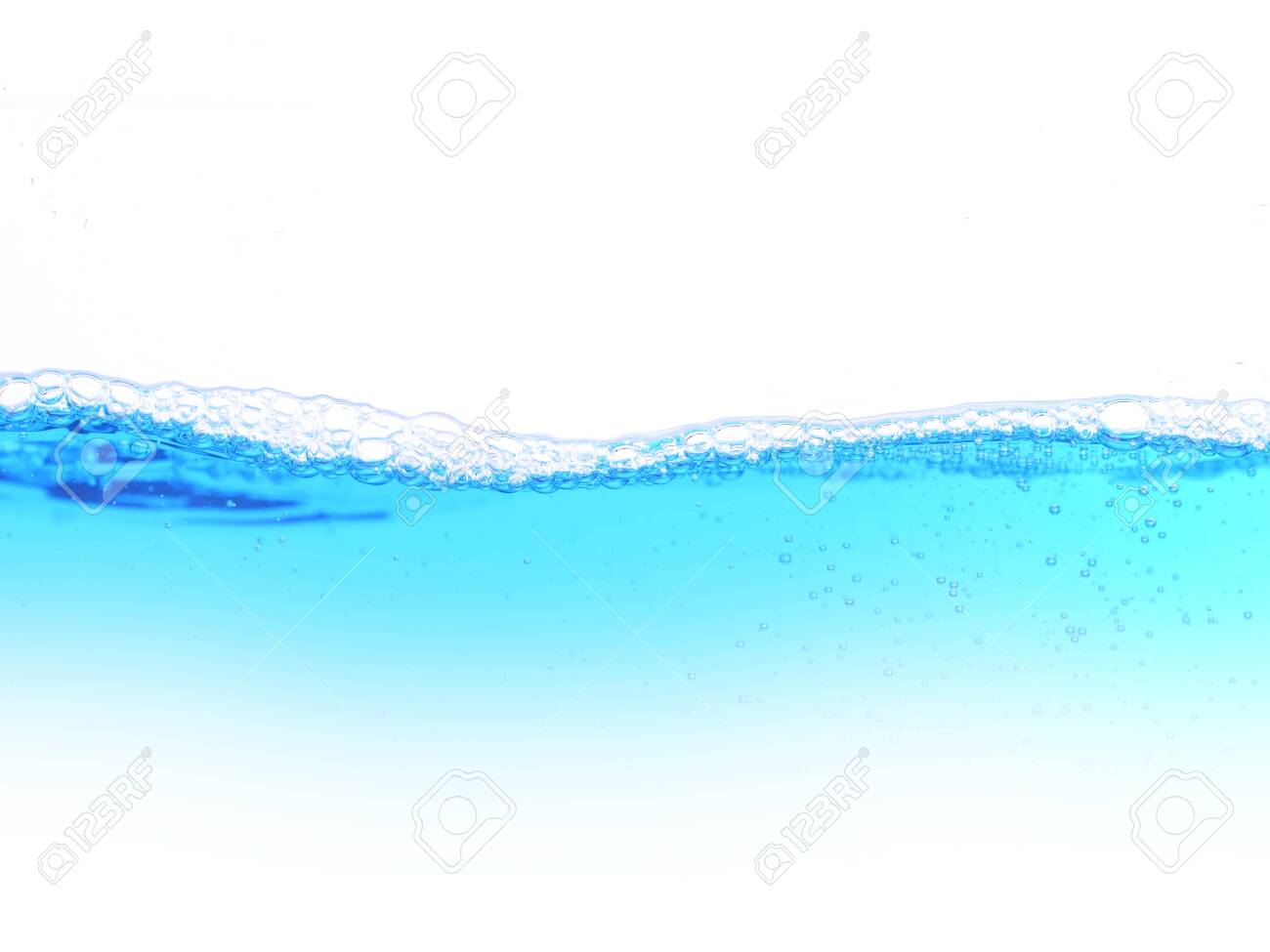 blue water with bubbles on a white background - 140507890