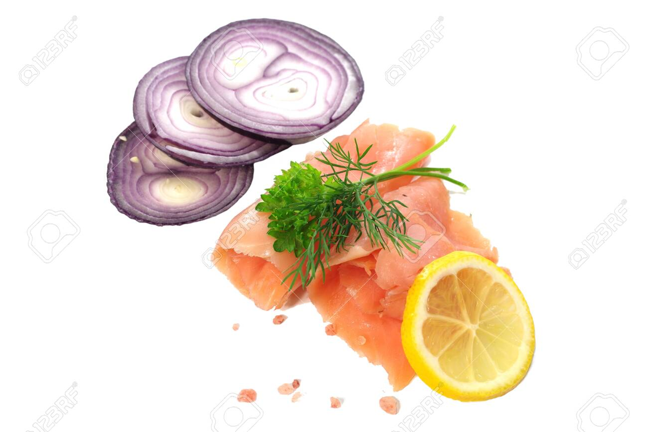 slices of smoked salmon with dill on white background - 143402461