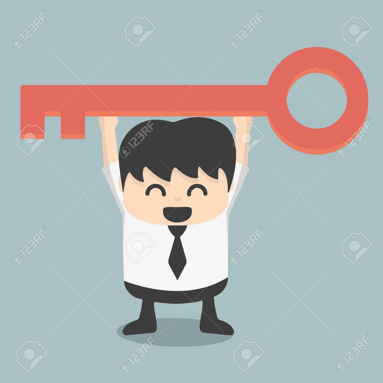 homme d'affaires est tenue d'une clé de la réussite Banque d'images - 29612489