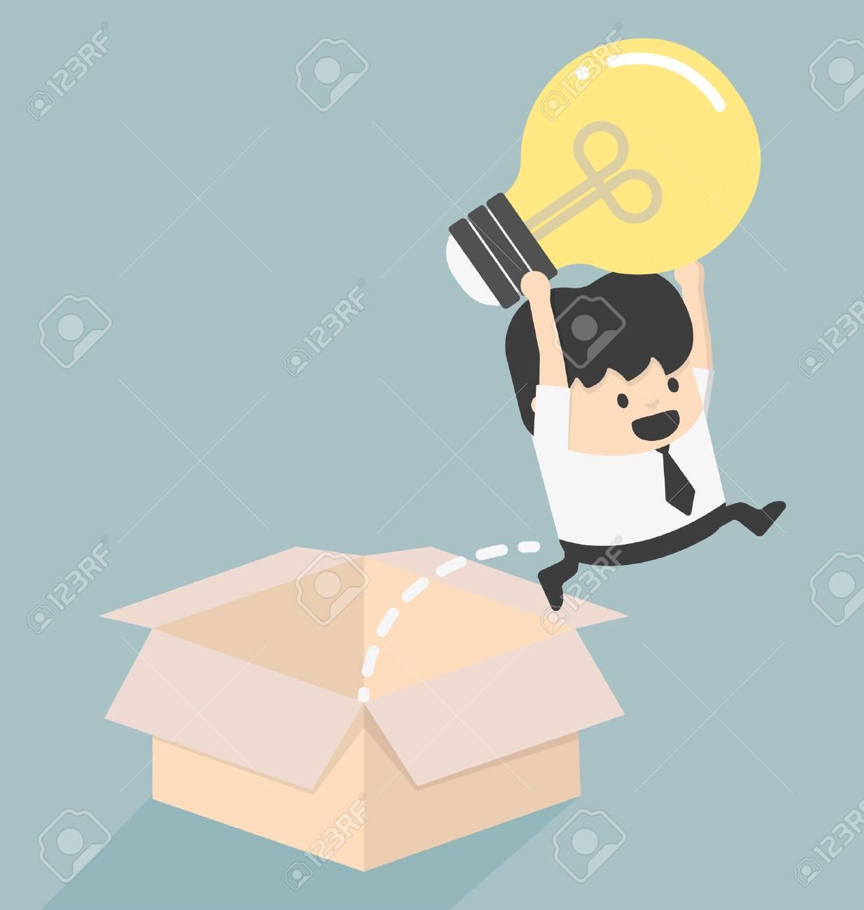 Pensez à l'extérieur du concept de boîte à succès Banque d'images - 31774508