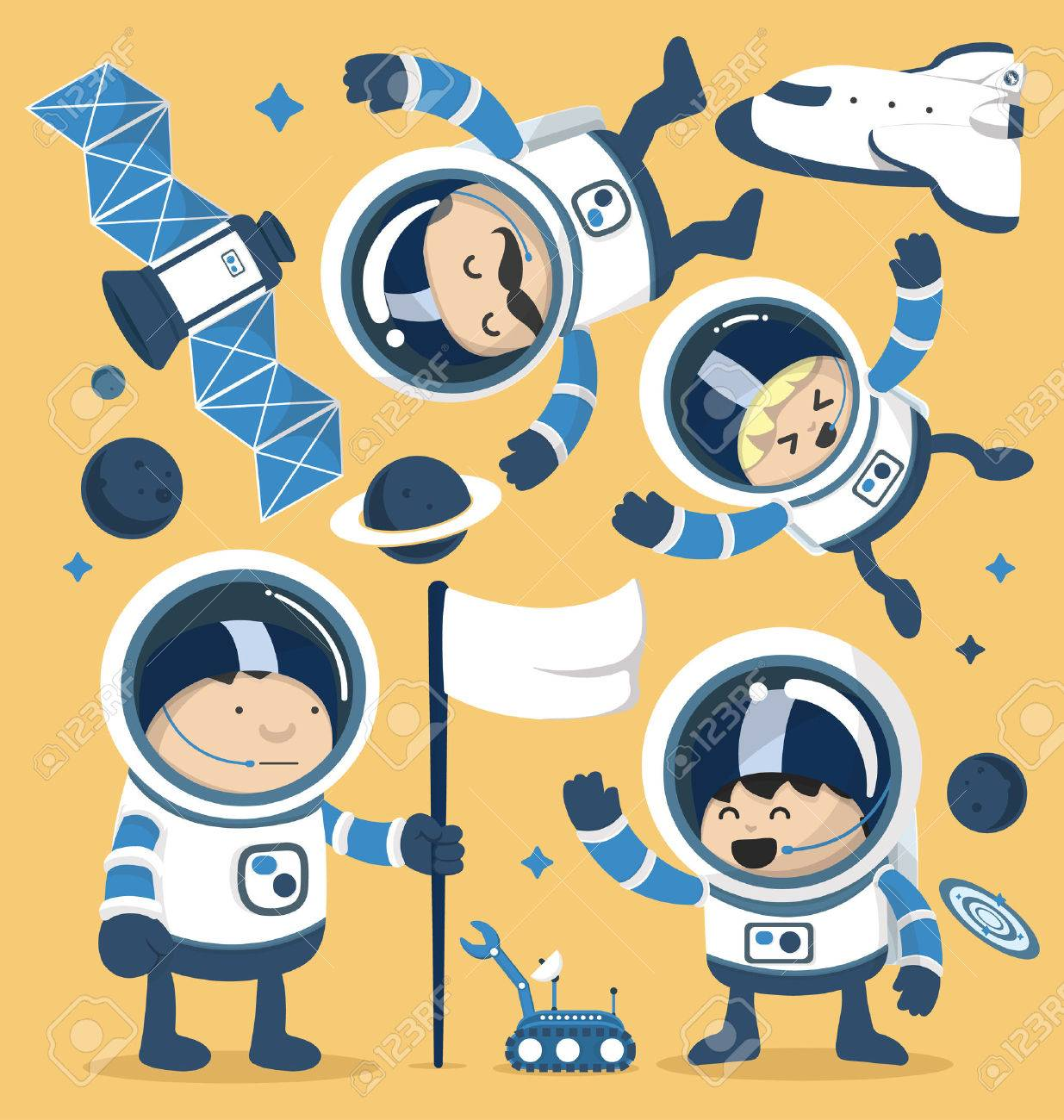 Set character astronauts in space and Rocket Ships Robots,Planets.Vector illustration Banque d'images - 37157166