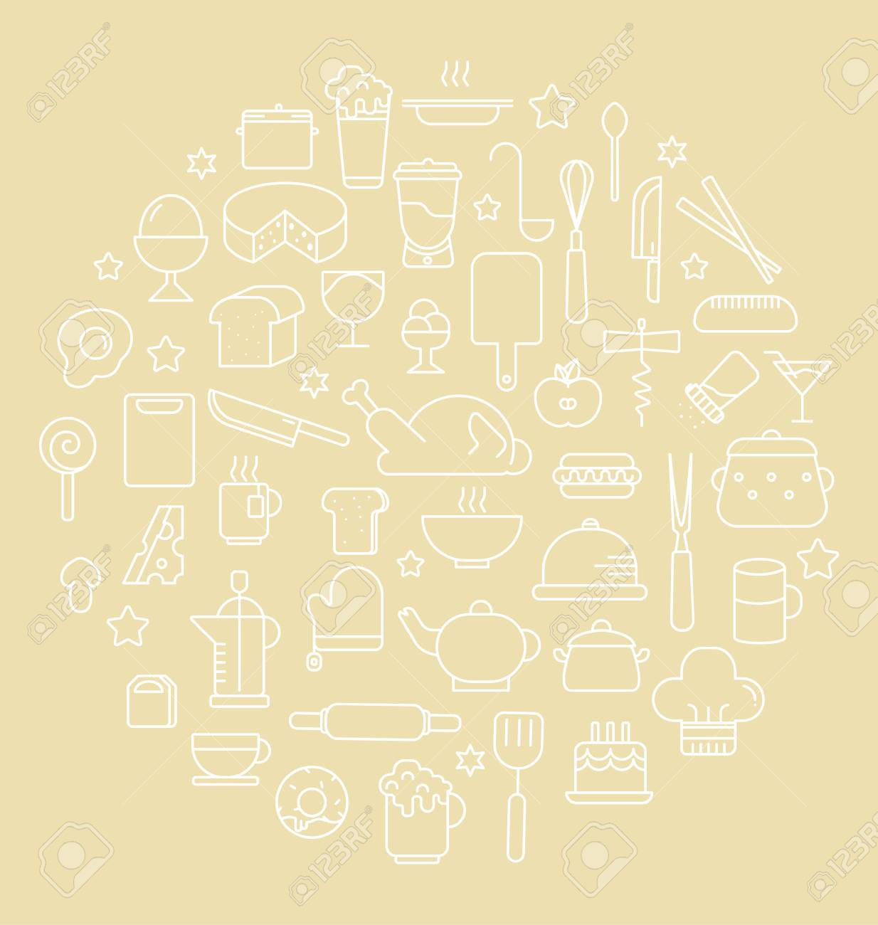 Kitchen and Food Outline icons Vector illustration - 40000963