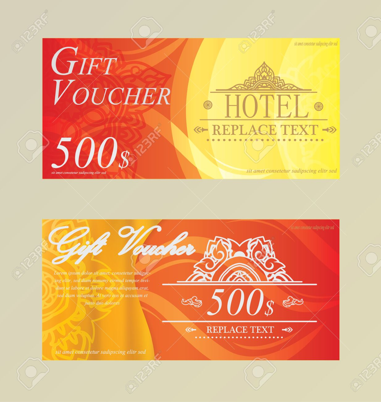 Gift Certificate Voucher Coupon Card Hotelrestaurant Thai Royalty