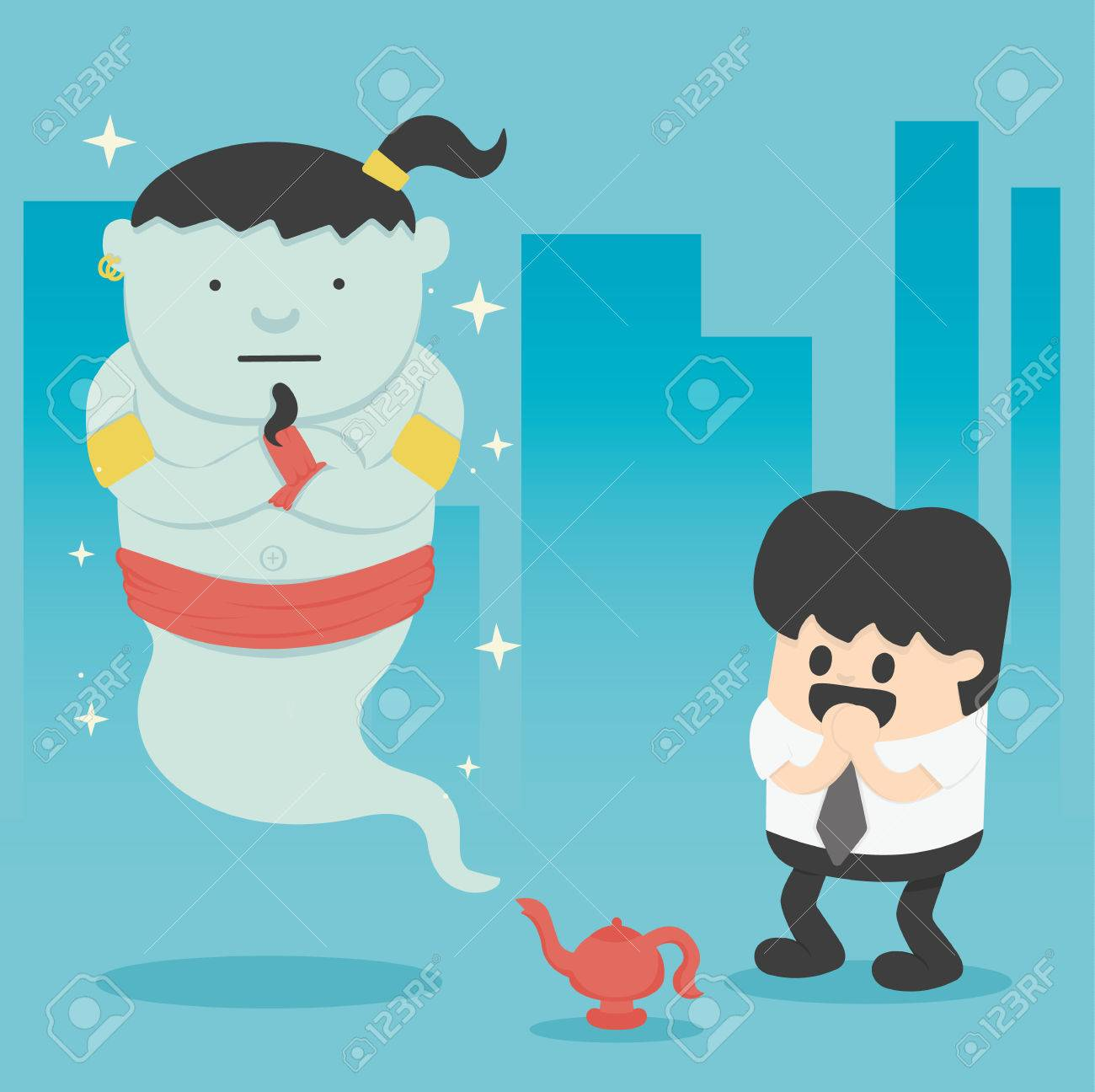 Business man with giant in magic lamp Banque d'images - 41668917