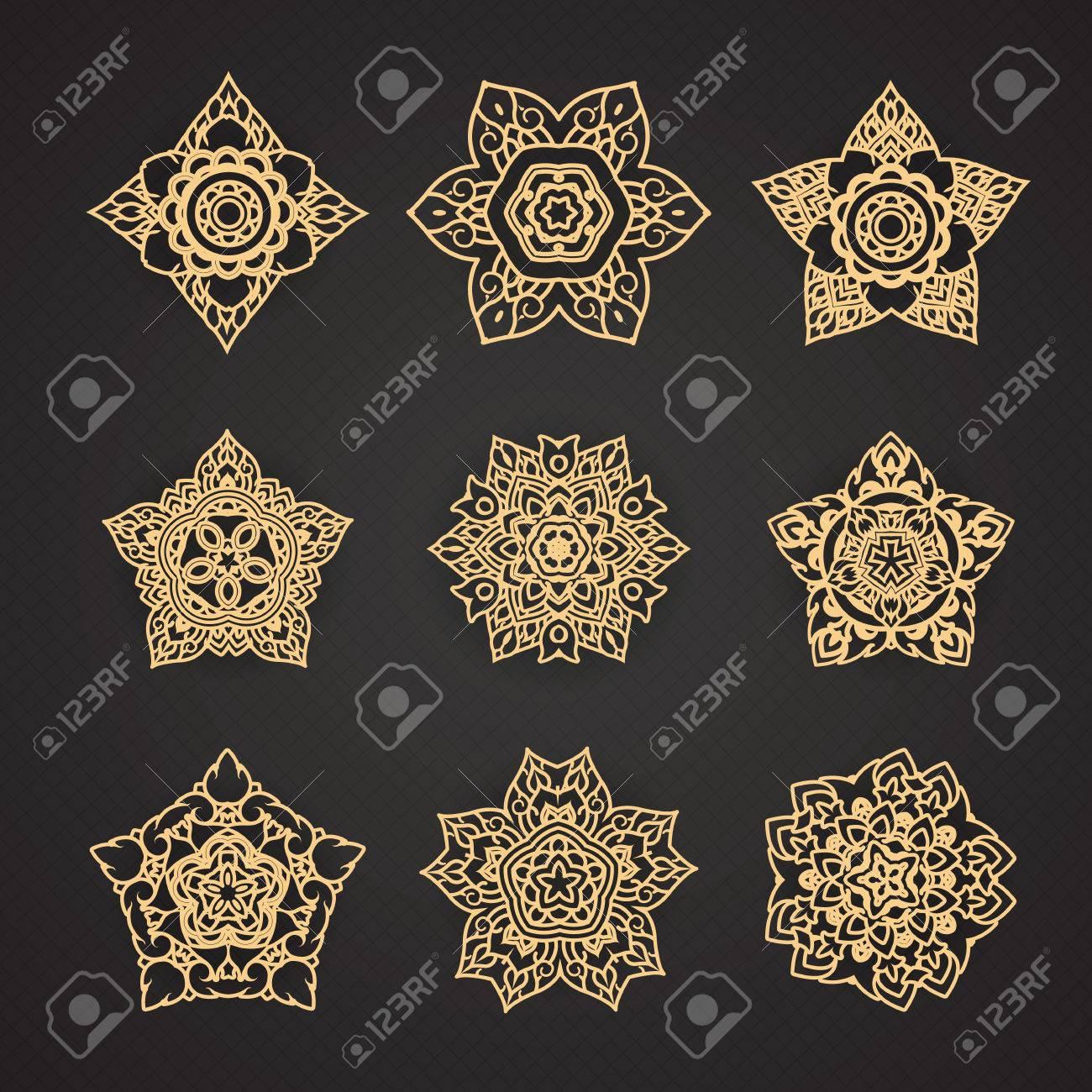 Line Thai Pattern Vector set Banque d'images - 41668961