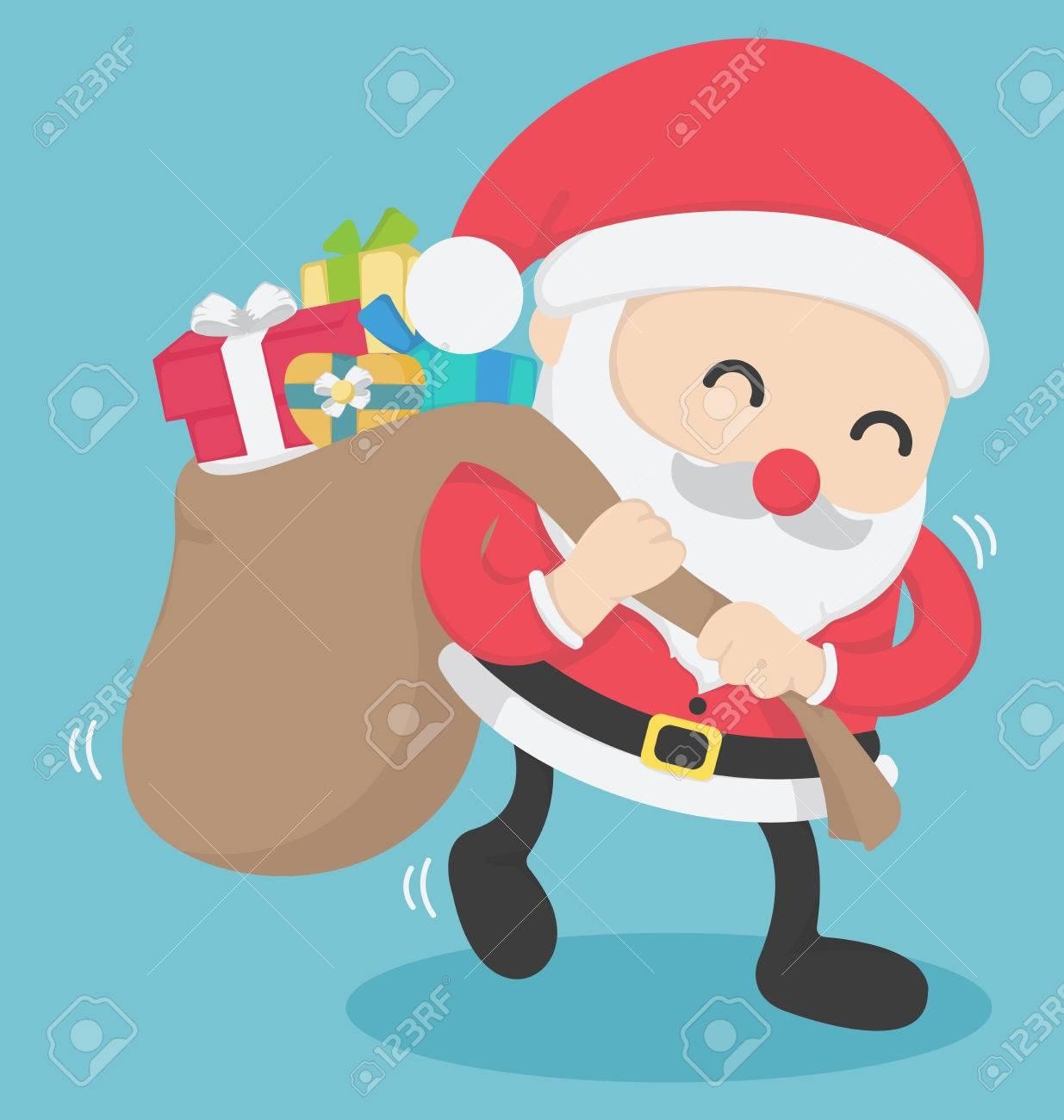 Weihnachten Santa Claus Großen Sack Voll Mit Geschenken Trägt, Auf ...