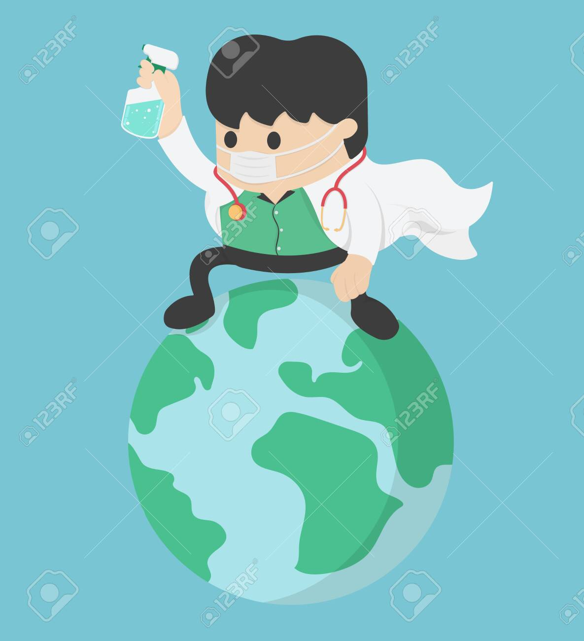 Coronavirus attack concept. doctor Save World. stop Covid-19 - 144133795
