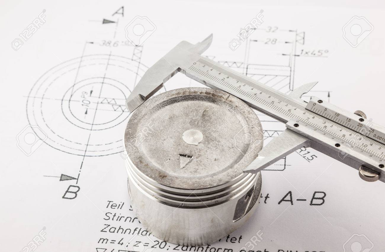 Vernier Caliper Measure Piston On The Drawing Board Stock Photo Diagram