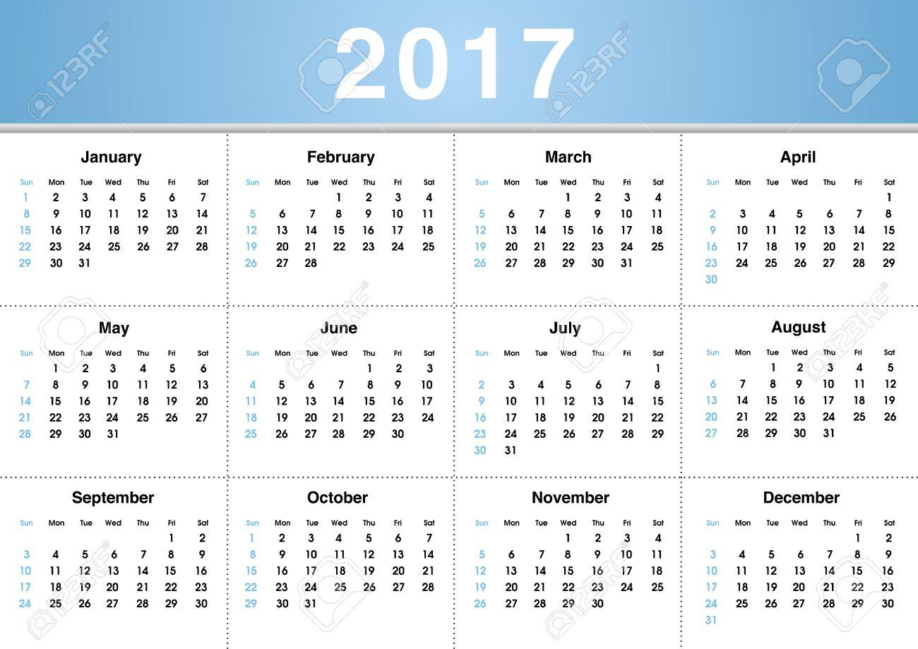 単純な 2017年カレンダー 2017年カレンダー デザイン 2017年カレンダー縦 日曜日から始まる 1 週間