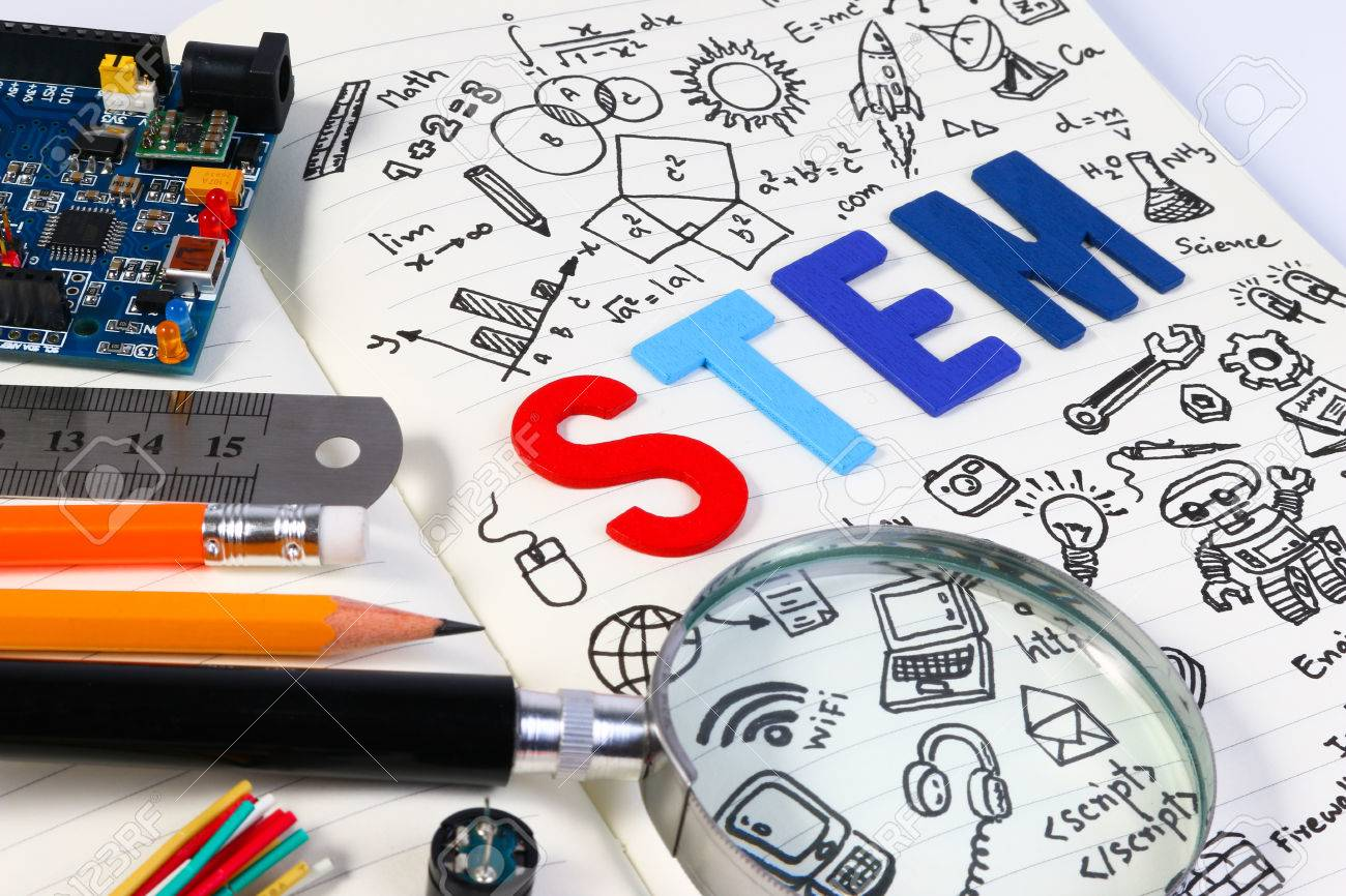 STEM education. Science Technology Engineering Mathematics. STEM concept with drawing background. Education background. - 63865301