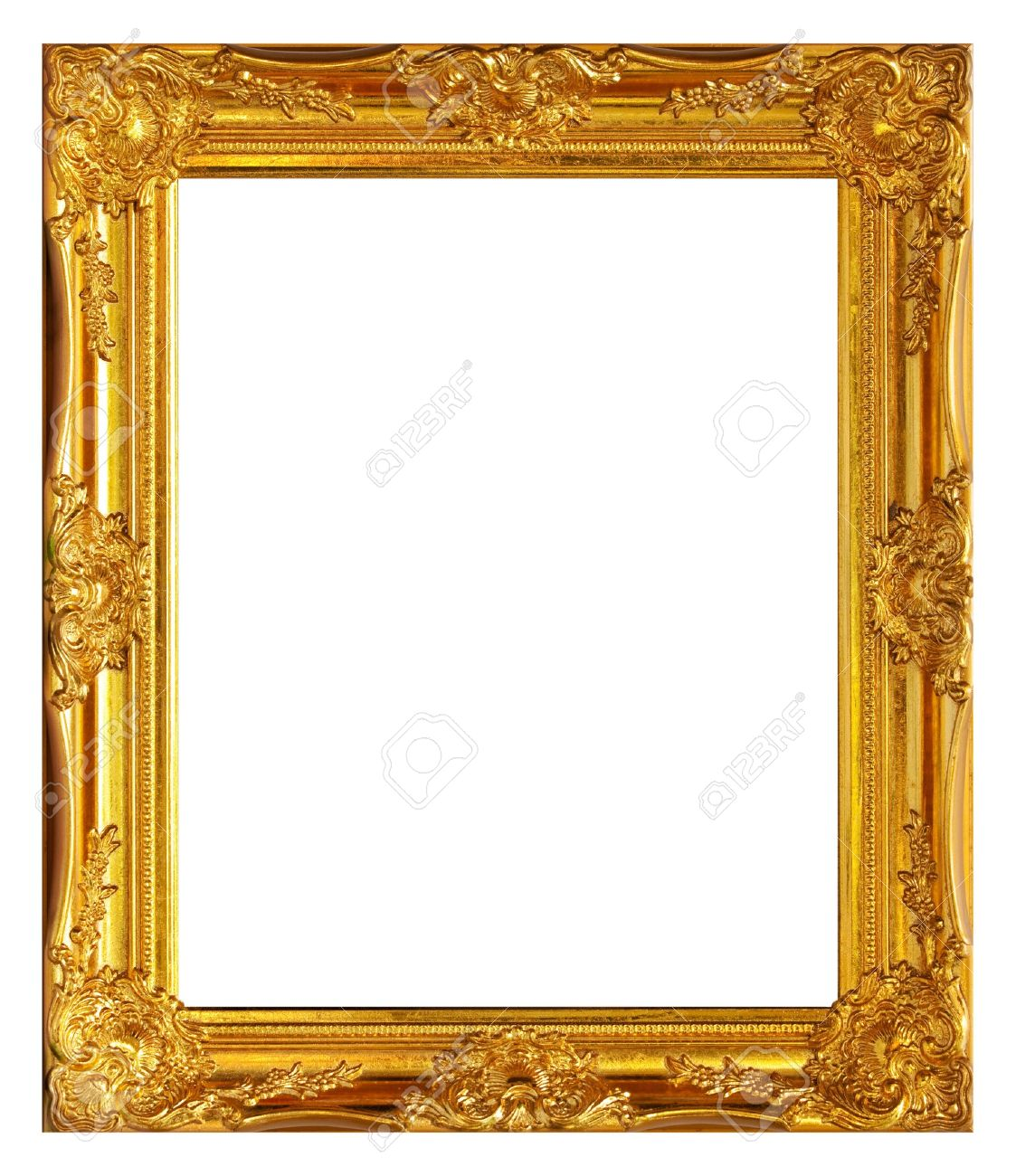 Gold frame on white background Stock Photo - 9401356