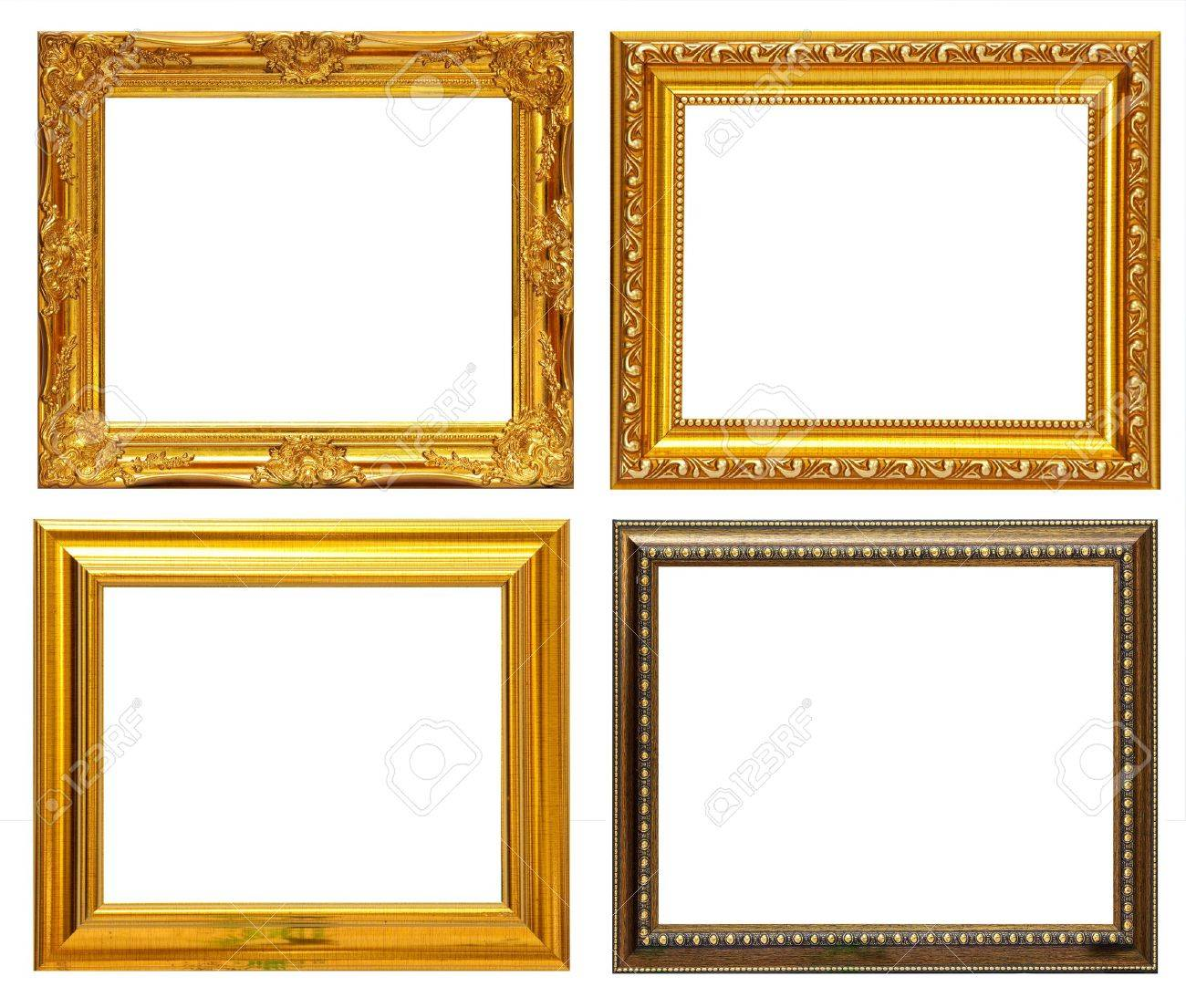 gold frame collection on white background stock photo 9407198