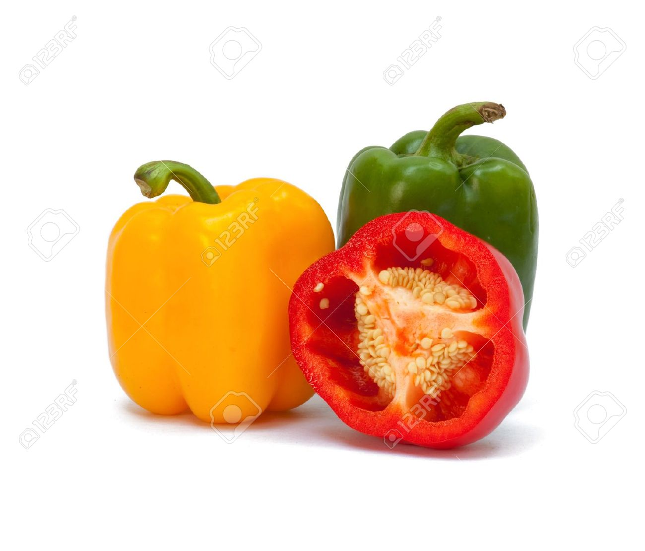 Three sweet peppers in yellow, red and green color Stock Photo - 9424752
