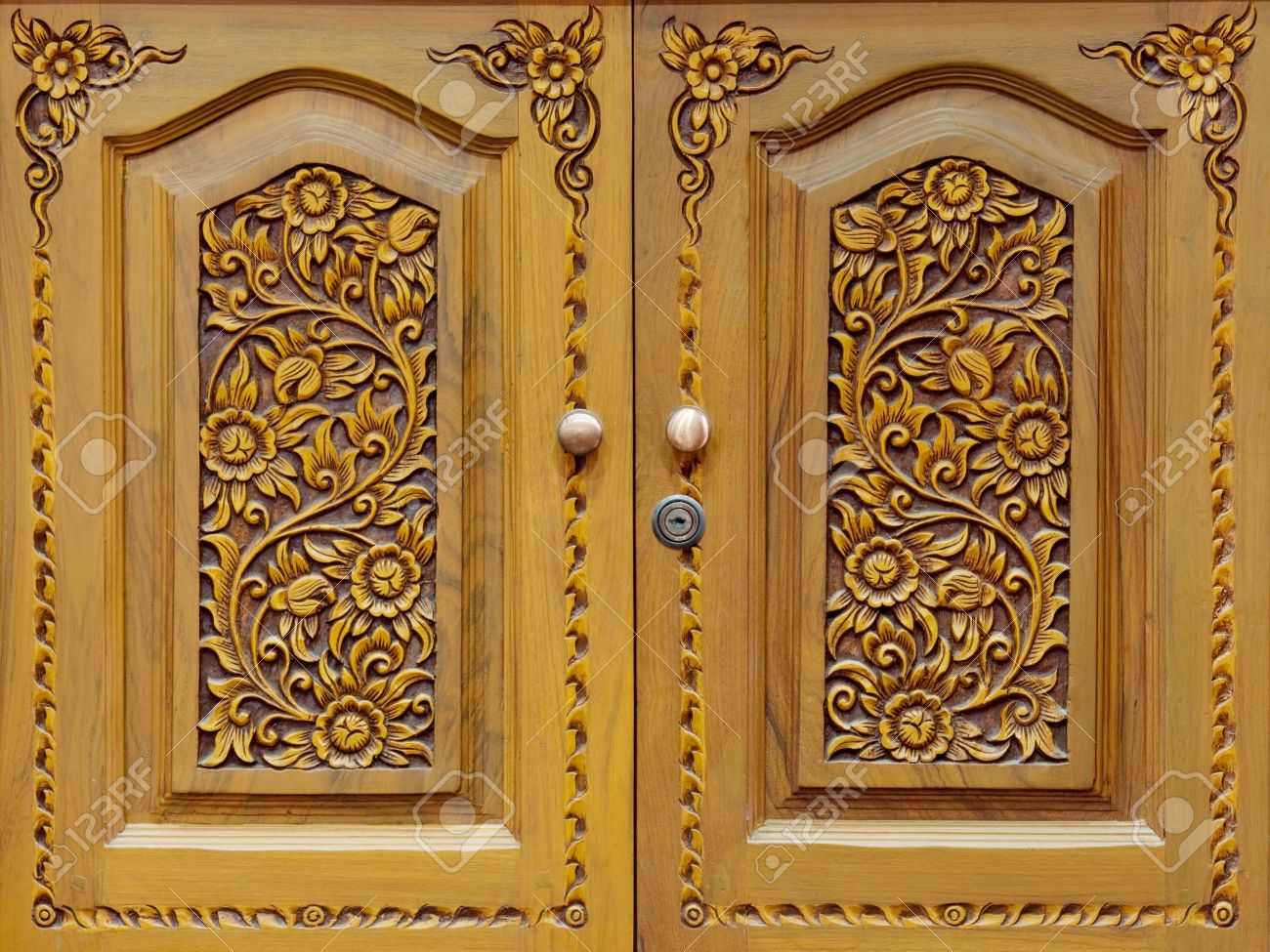 Stock Photo - Wooden carved doors closeup & Wooden Carved Doors Closeup Stock Photo Picture And Royalty Free ...