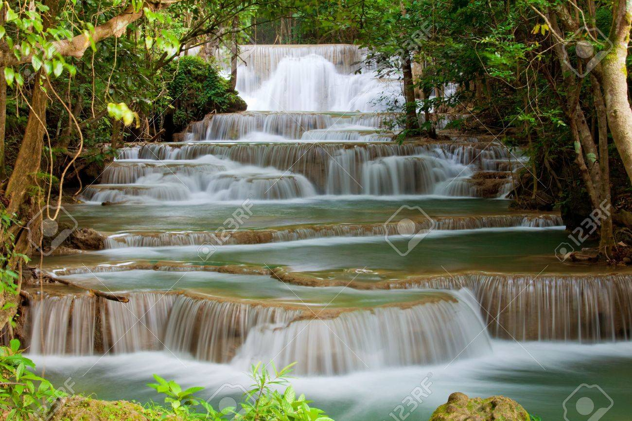 Deep forest Waterfall in Thailand Stock Photo - 10087336