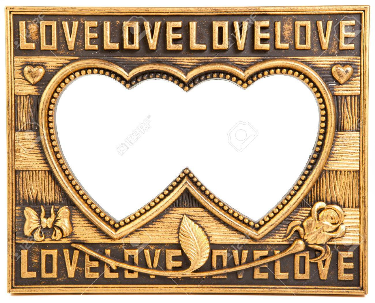 antique love gold frame isolated on white Stock Photo - 11869494