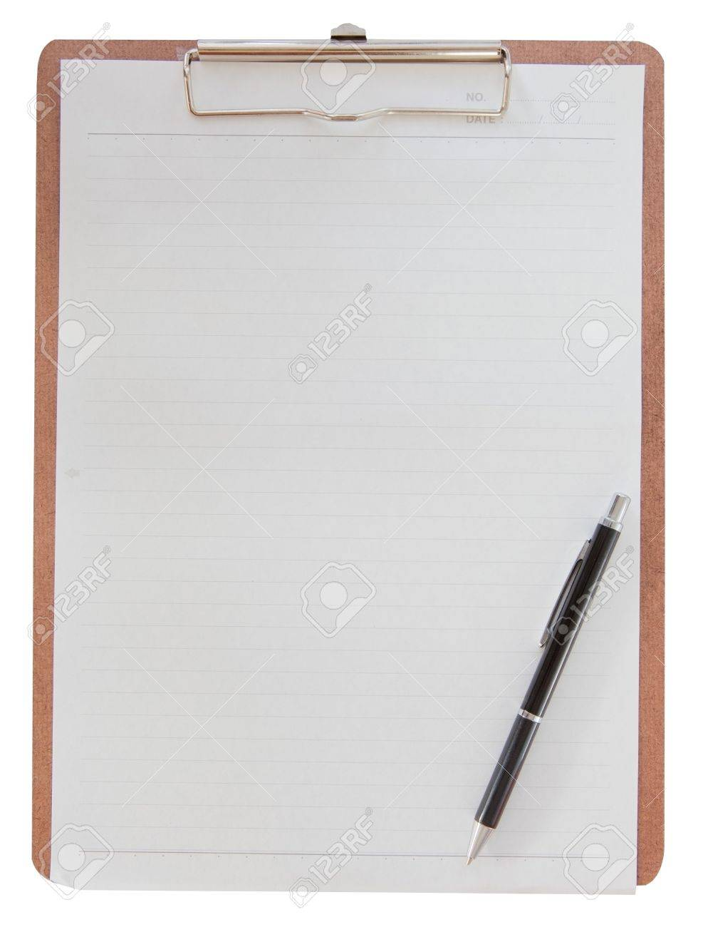 wooden clipboard with a blank piece of paper stock photo picture