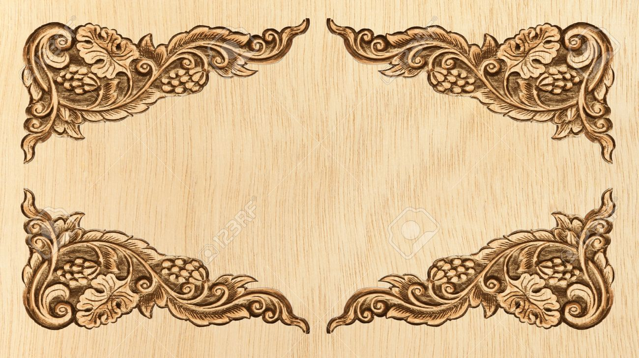 Pattern Of Wood Frame Carve Flower On White Background Stock Photo