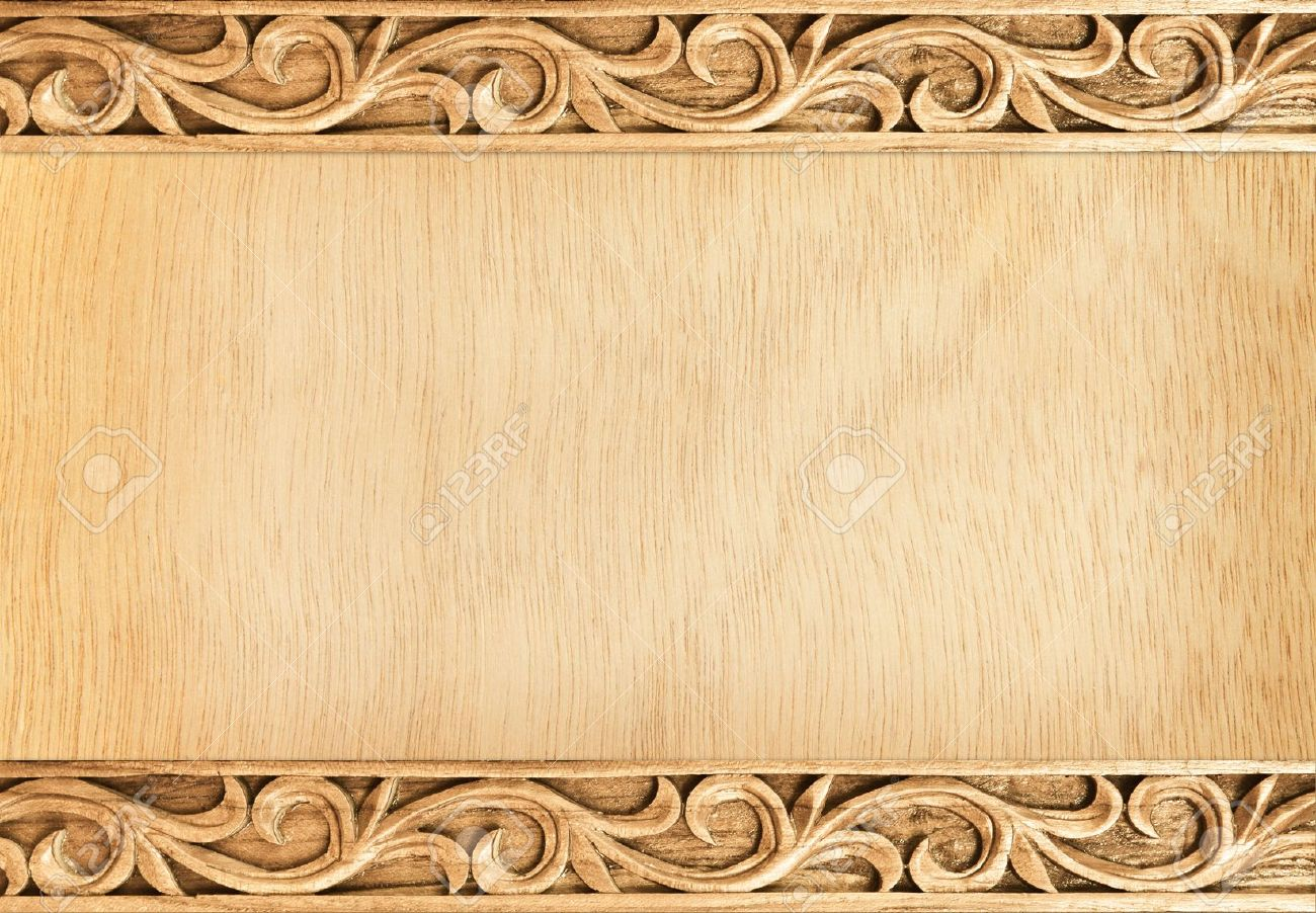 Pattern of flower carved frame on wood background Stock Photo - 14250901