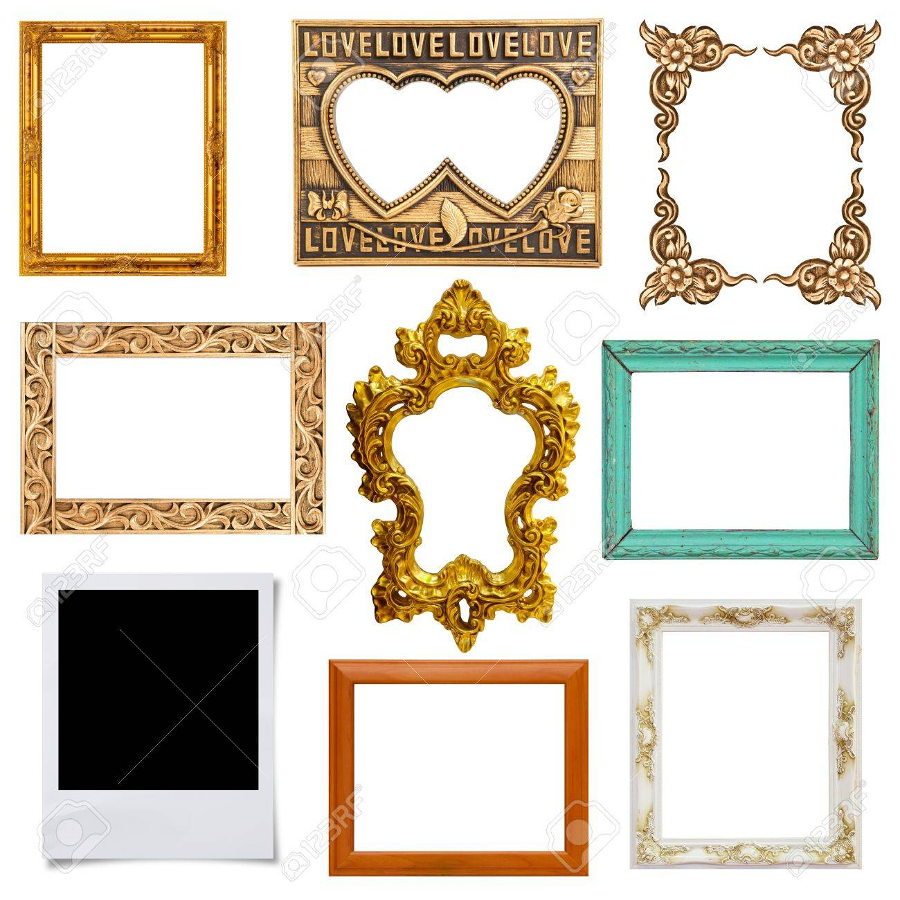 Gold and wood frame Collection on white background Stock Photo - 15299327