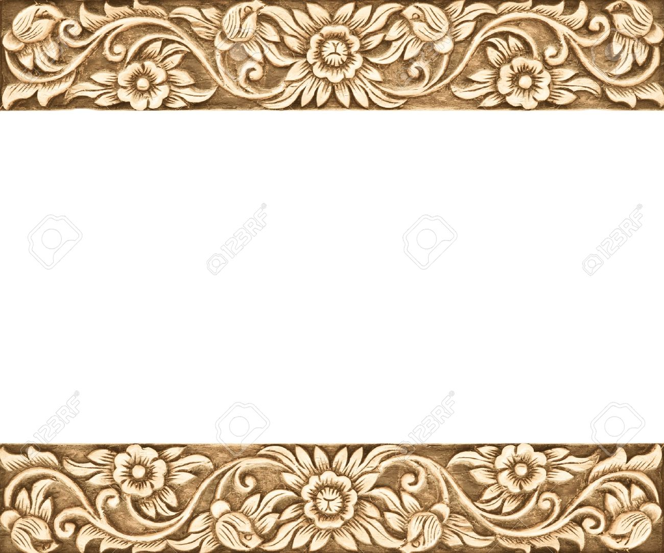 Pattern of flower carved frame on white background Stock Photo - 15299326