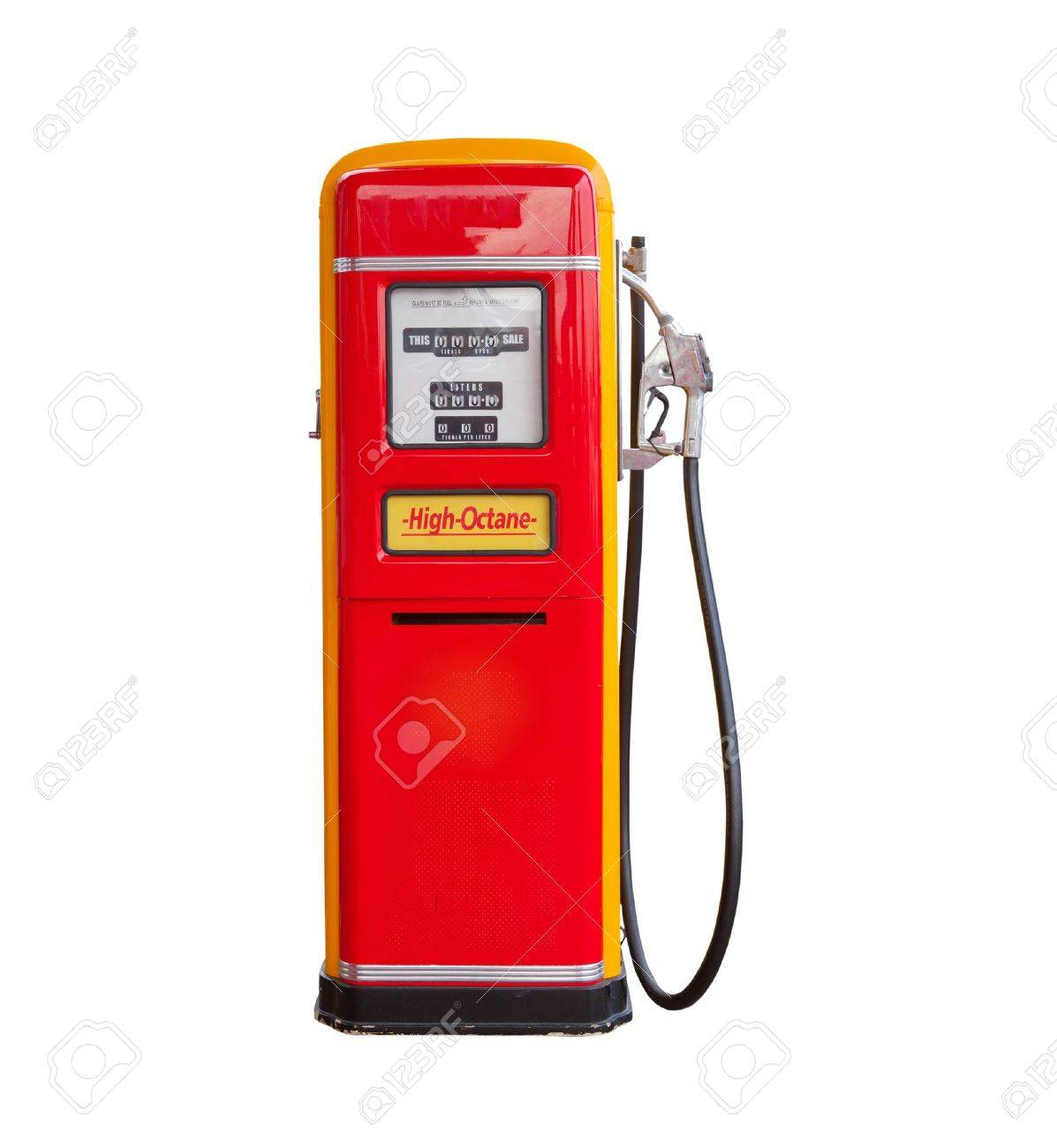 red vintage gasoline pump over white background - 16053689