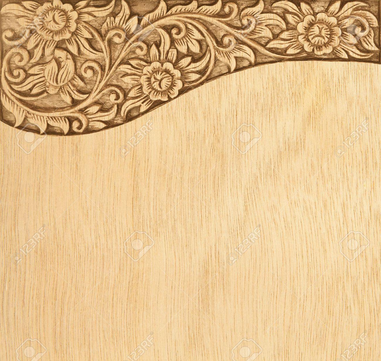 Pattern of wood frame carve flower on wood background - 16231357