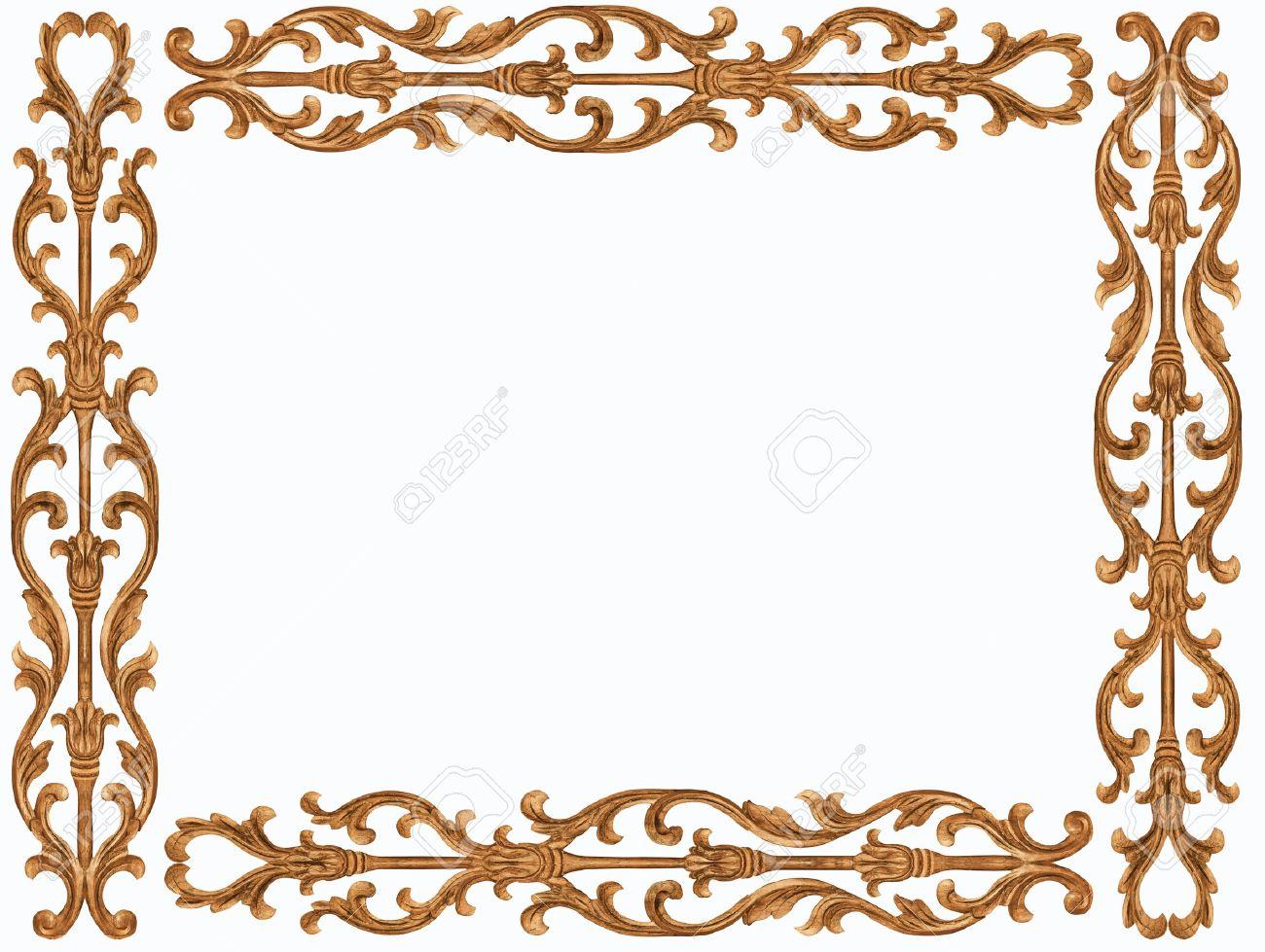 Pattern of flower carved frame on white background - 16231074