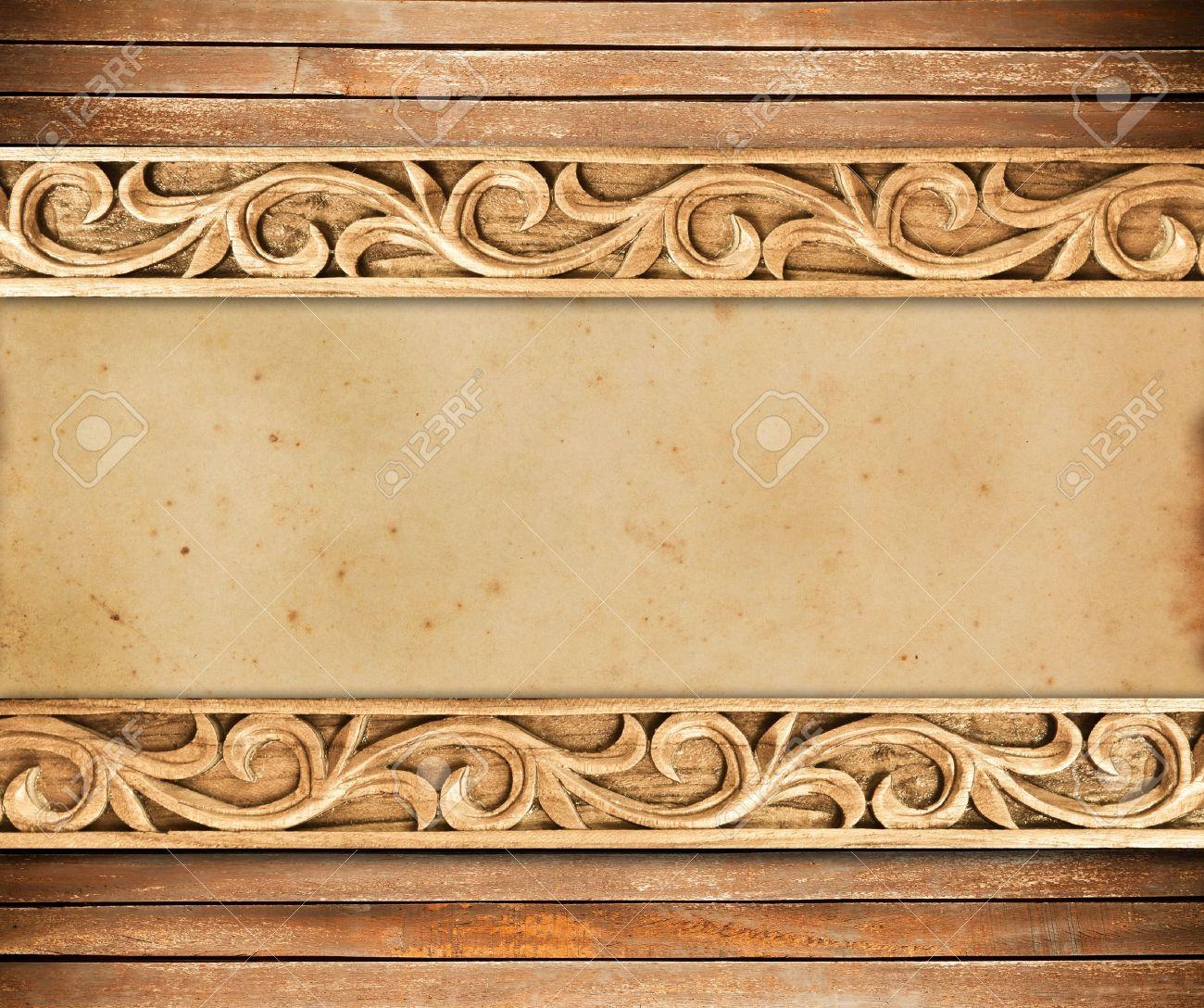 Pattern of wood frame carve flower on wood background - 16460117