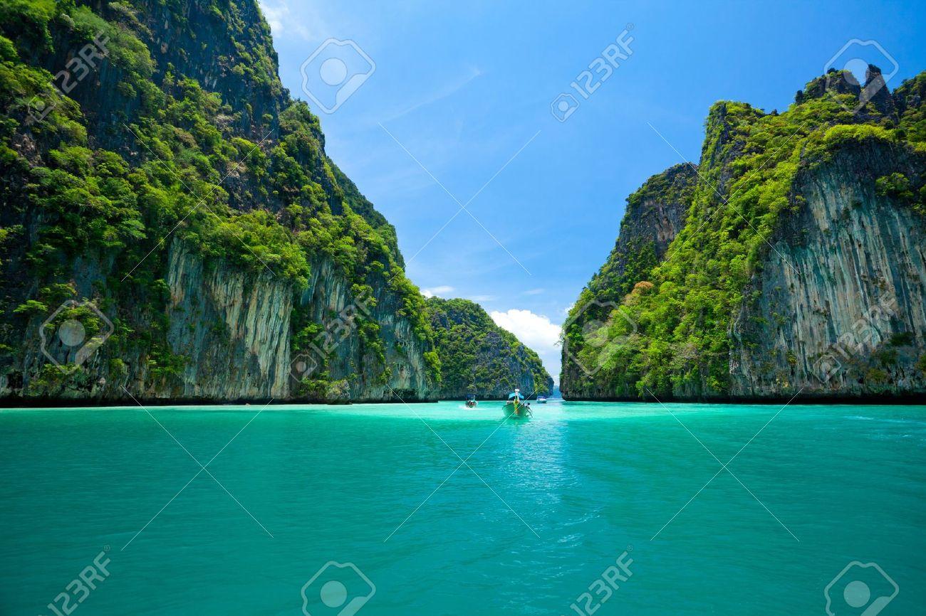 boat moving in sea Phi Phi Leh south of Thailand - 16849384