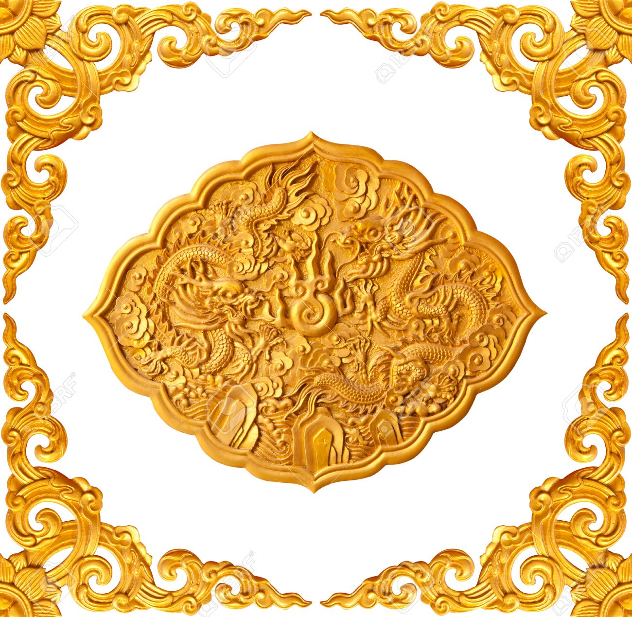 golden frame and dragon carve isolated on white background - 17688686